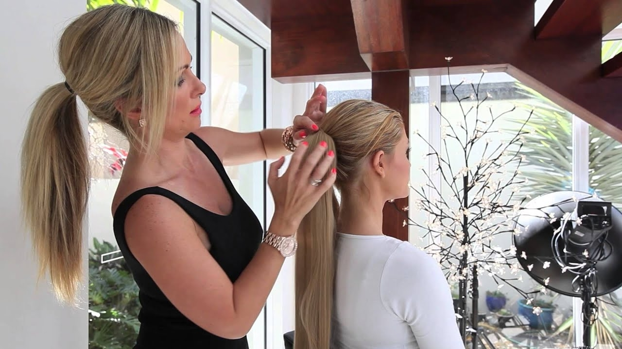Preferred Wrapped High Ponytails In Tutorial – Quickly Attach A Wrap Around Ponytail Hair Extension (View 6 of 20)
