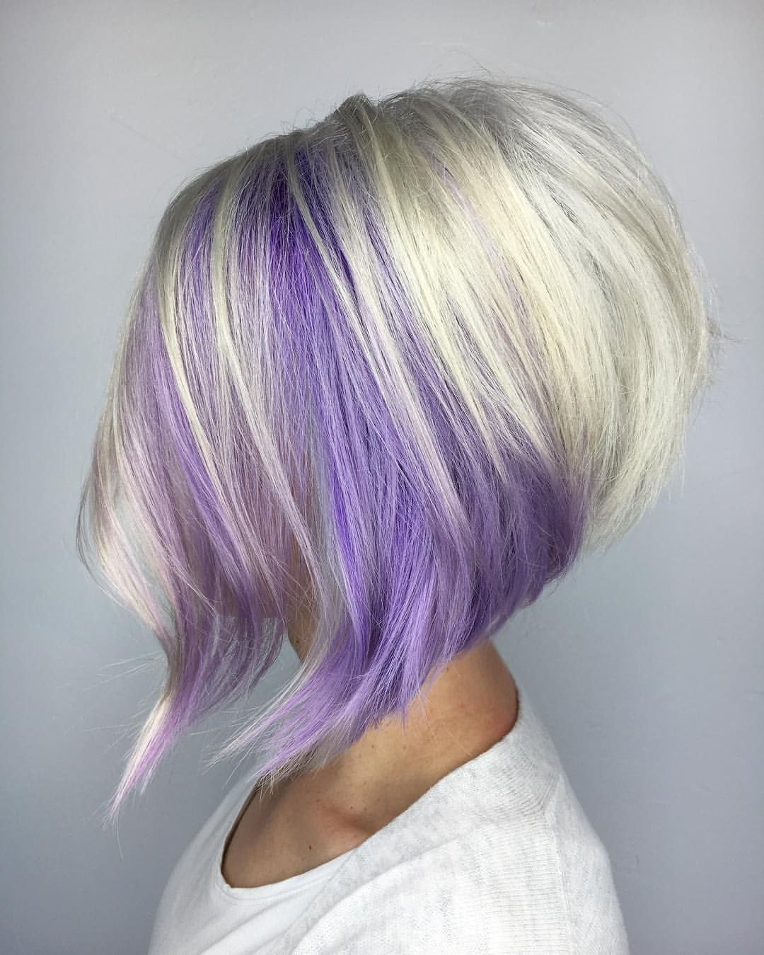 Purple And Blonde Stacked Bob | Fun Hair In 2018 | Pinterest | Hair Pertaining To Extreme Angled Bob Haircuts With Pink Peek A Boos (View 5 of 20)
