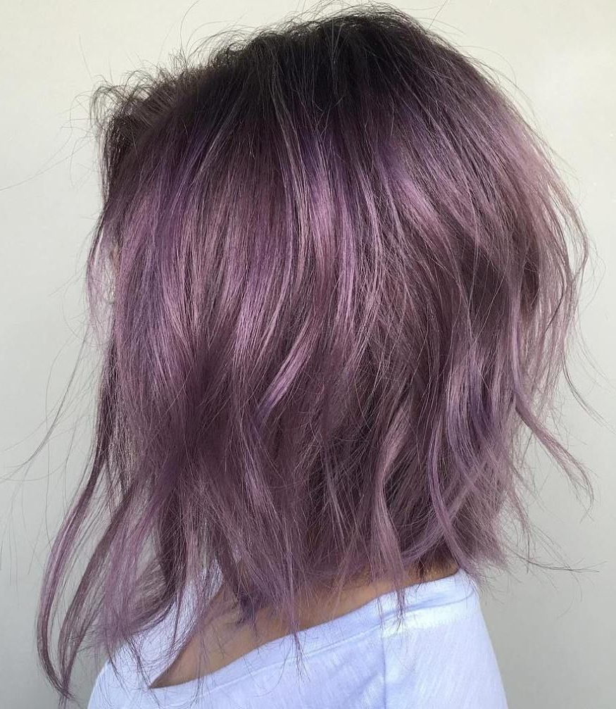 Purple+angled+bob | Pelo | Pinterest | Angled Bobs, Bobs And Messy Throughout Choppy Brown And Lavender Bob Hairstyles (View 2 of 20)