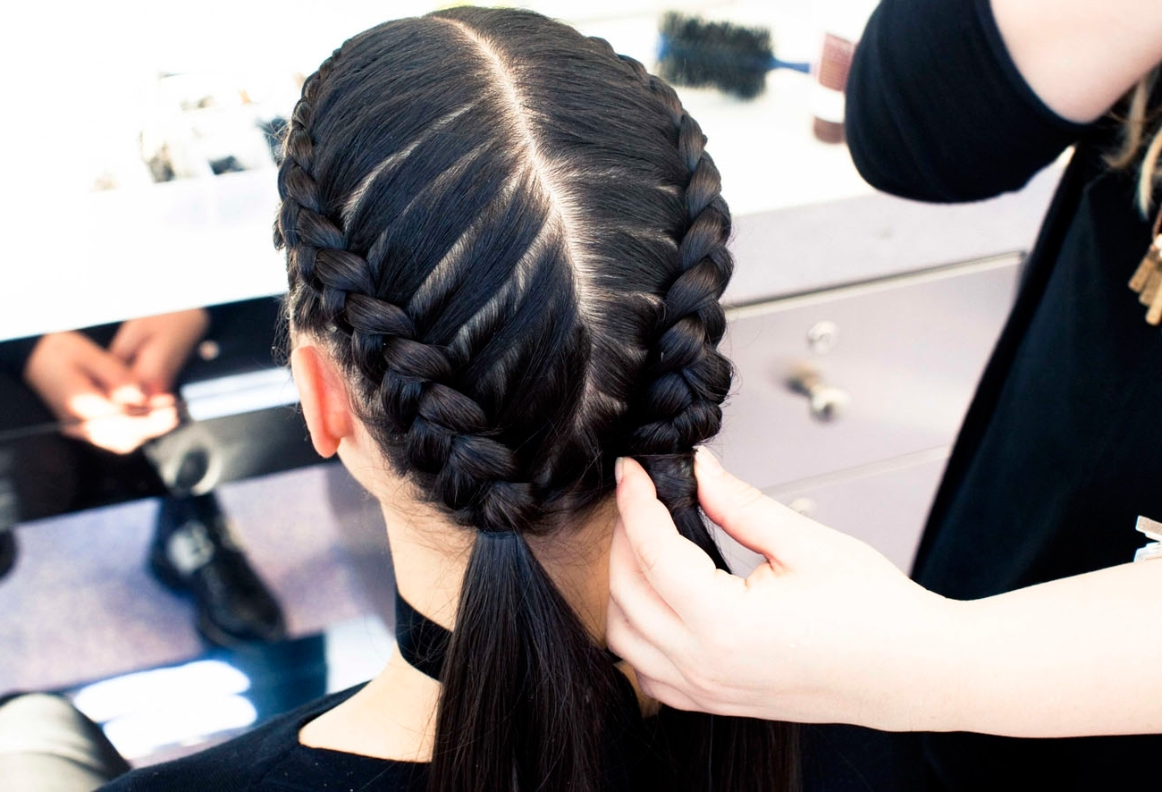 Recent Double French Braid Crown Ponytail Hairstyles Pertaining To The Boxer Braid (Aka Double French Braid): A How To – Coveteur (View 18 of 20)