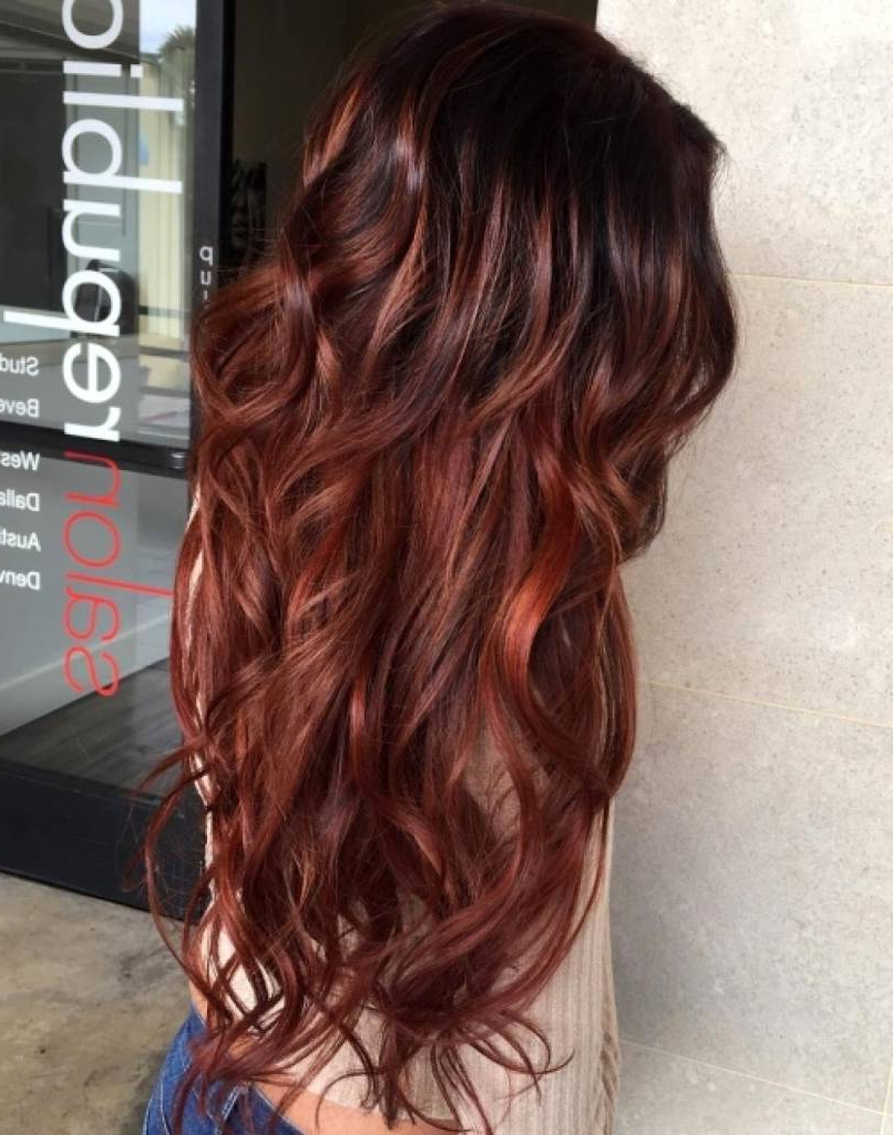 Red Highlights In Dark Brown Short Hair – Curlyhairstyle.tk With Stacked Black Bobhairstyles  With Cherry Balayage (Gallery 12 of 20)