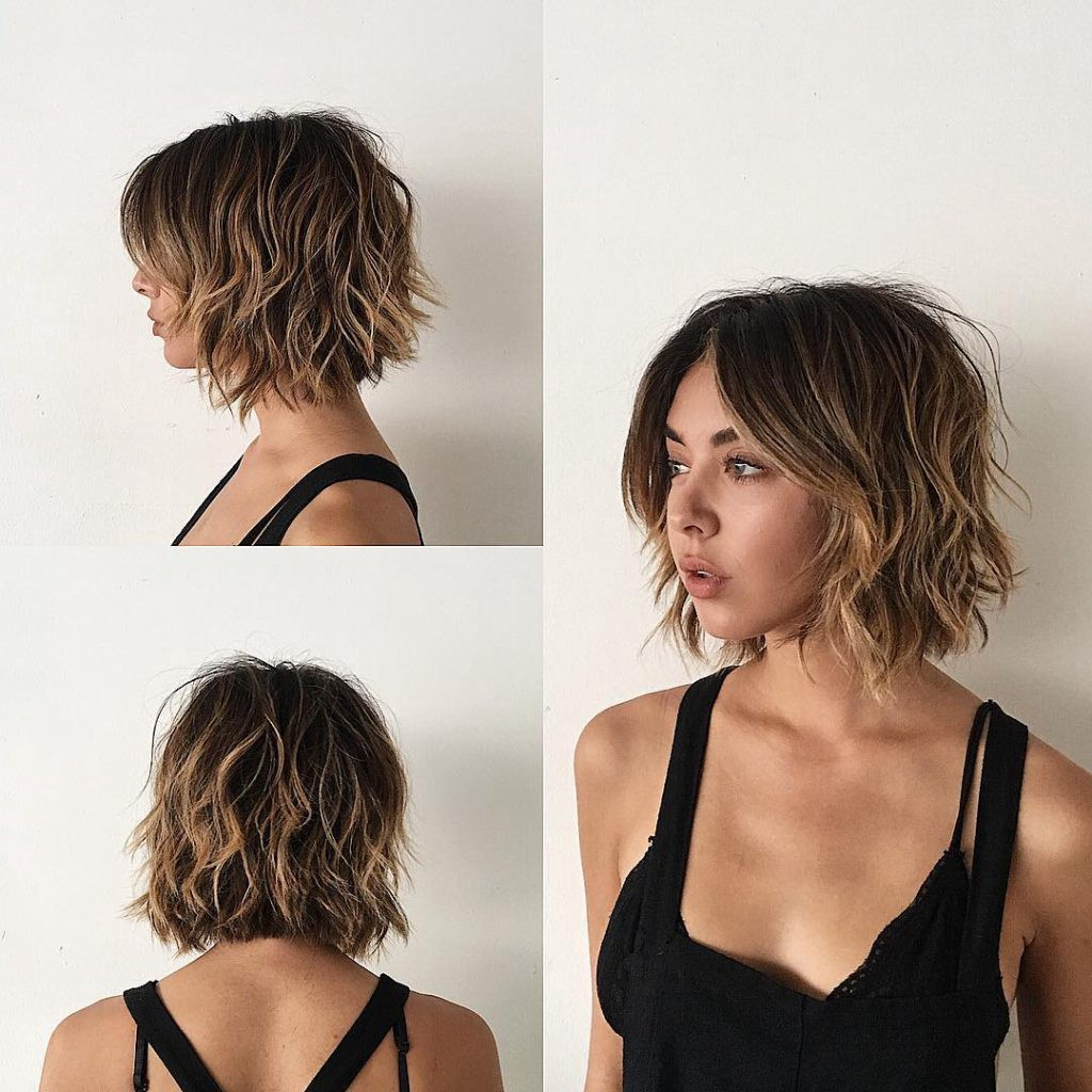 Sexy Layered Bob With Curtain Bangs And Undone Wavy Texture With Pertaining To Layered Balayage Bob Hairstyles (Gallery 17 of 20)