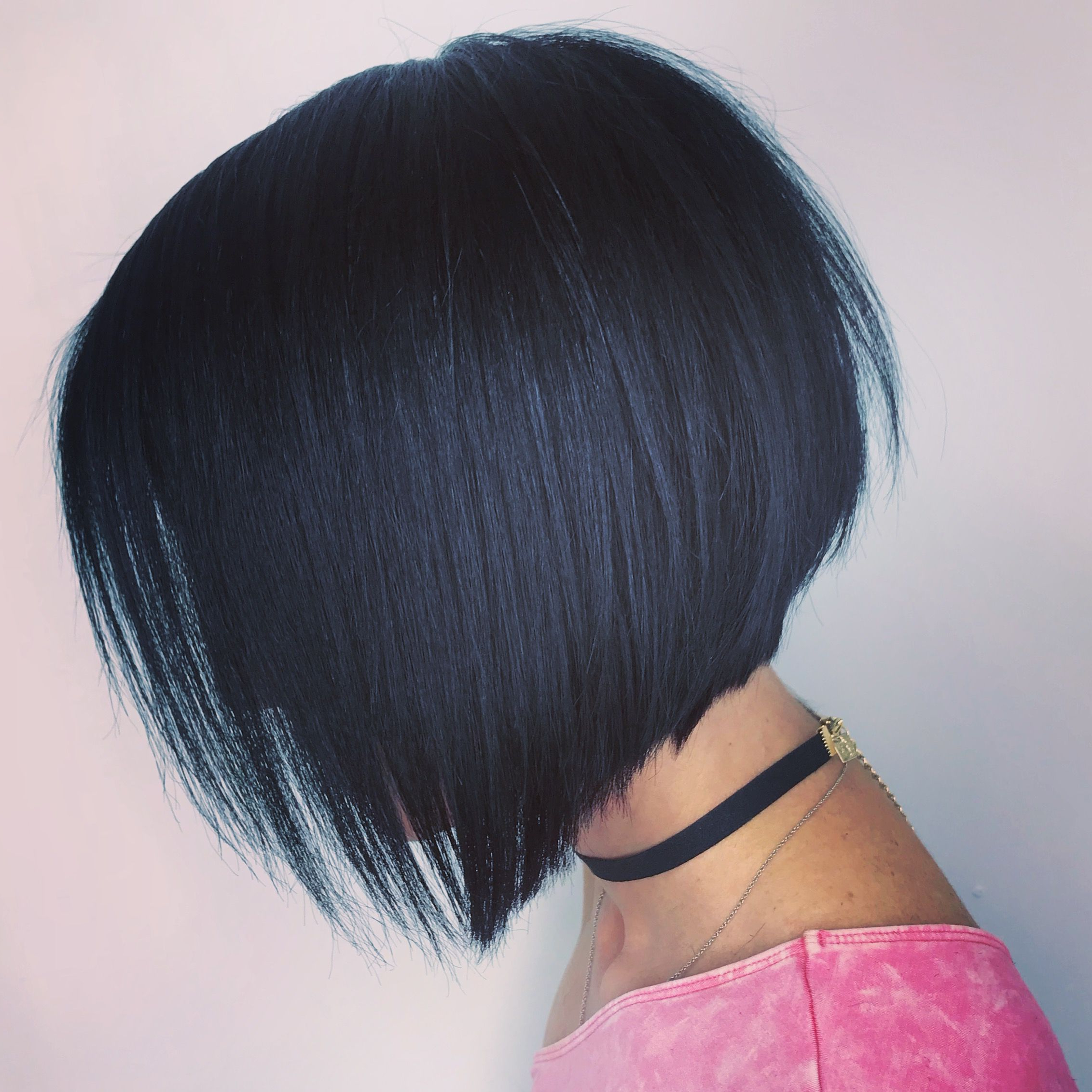 Short Angled Bob With Choppy Layers | Short Bob Hairstyle Within Blue Balayage For Black Choppy Bob Hairstyles (View 3 of 20)