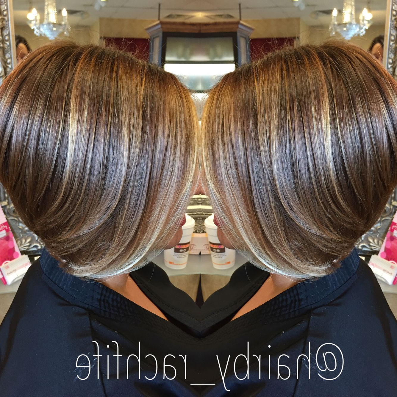 Short Bob Haircut With Subtle Balayage Highlights. Hairrachel Pertaining To Stacked Blonde Balayage Pixie Hairstyles For Brunettes (Gallery 3 of 20)