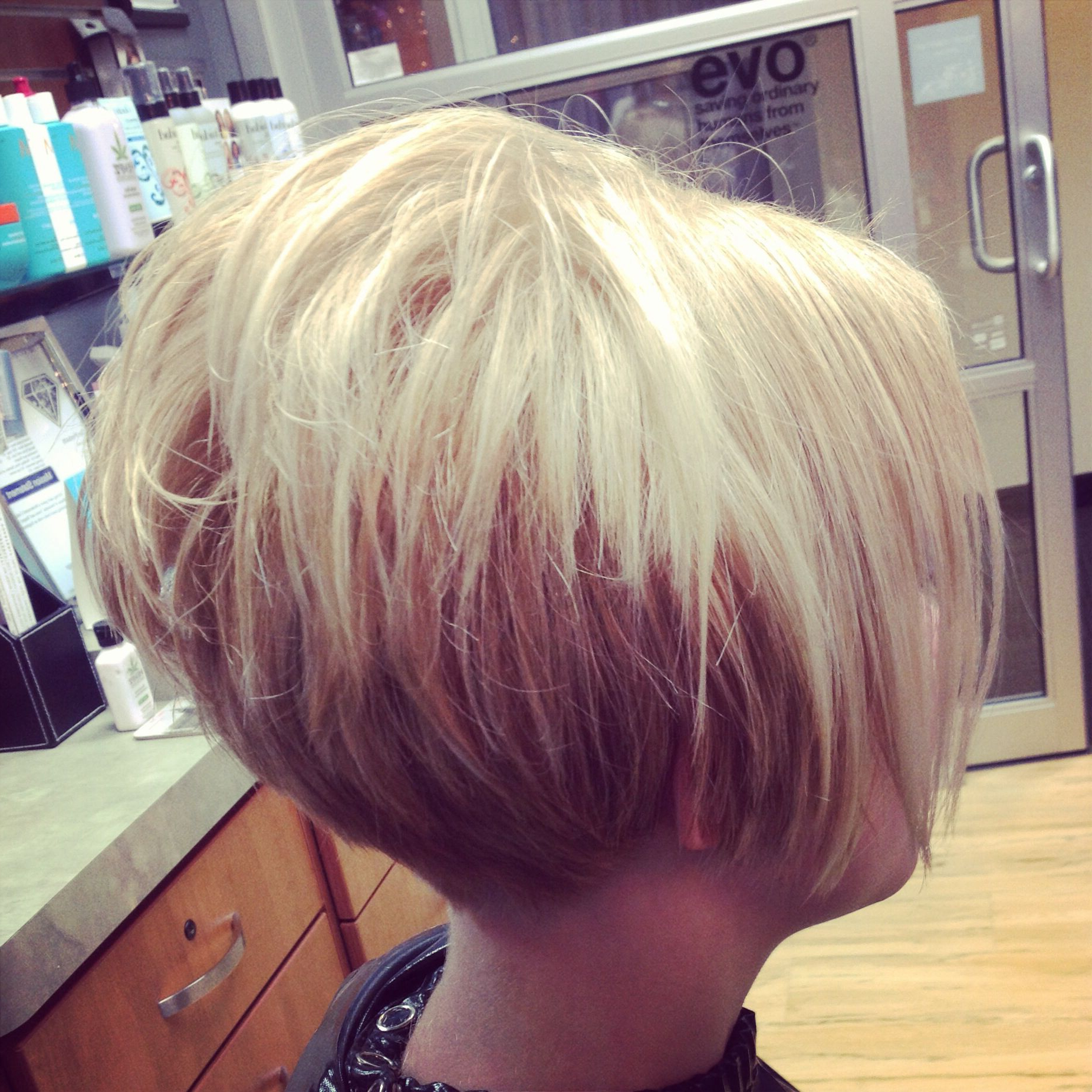 Short Cropped Stacked Tapered At Neck Bob! | Hairtiffany Violet Pertaining To Short Bob Hairstyles With Tapered Back (View 8 of 20)