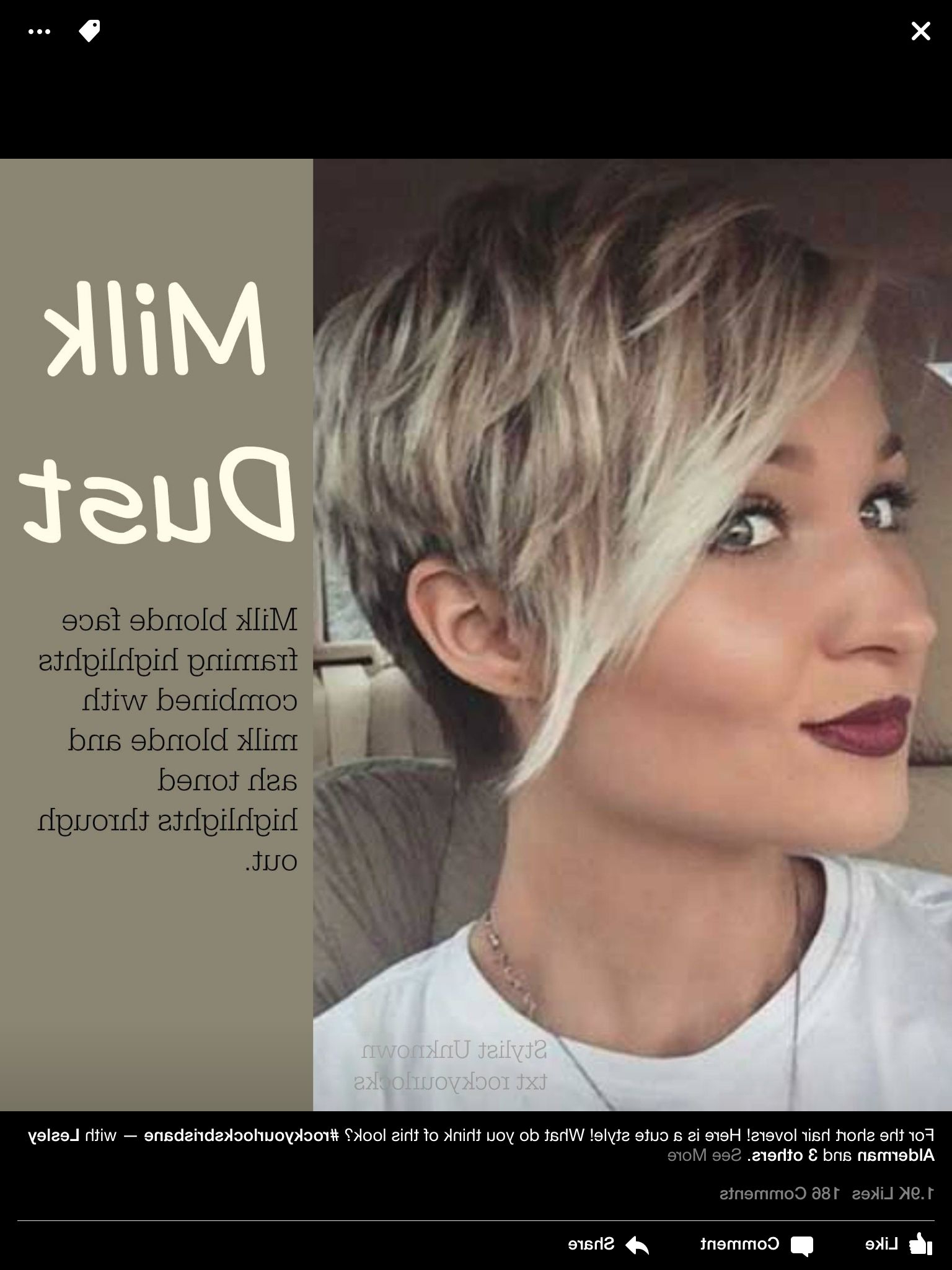 Short Hair Highlights Long Pixie | Short Hair Inspiration In 2018 Regarding Highlighted Pixie Bob Hairstyles With Long Bangs (Gallery 1 of 20)