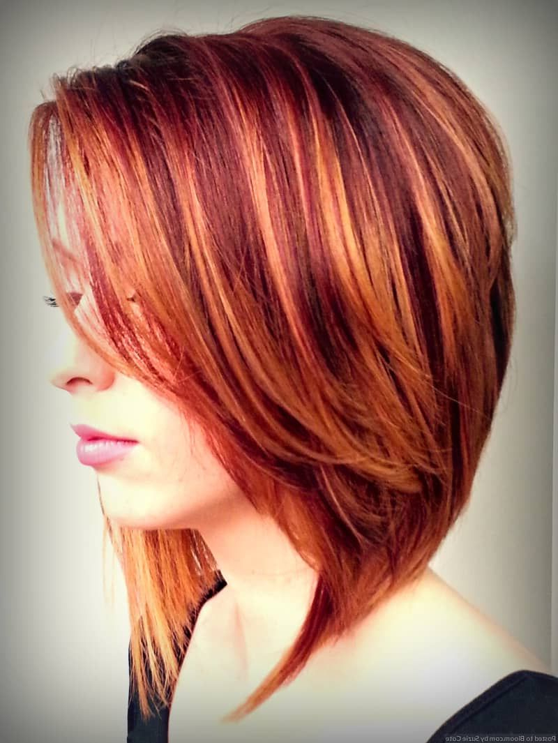 Short Haircuts With Highlights And Lowlights Auburn Hair 1 | Red Pertaining To Burgundy And Tangerine Piecey Bob Hairstyles (View 18 of 20)