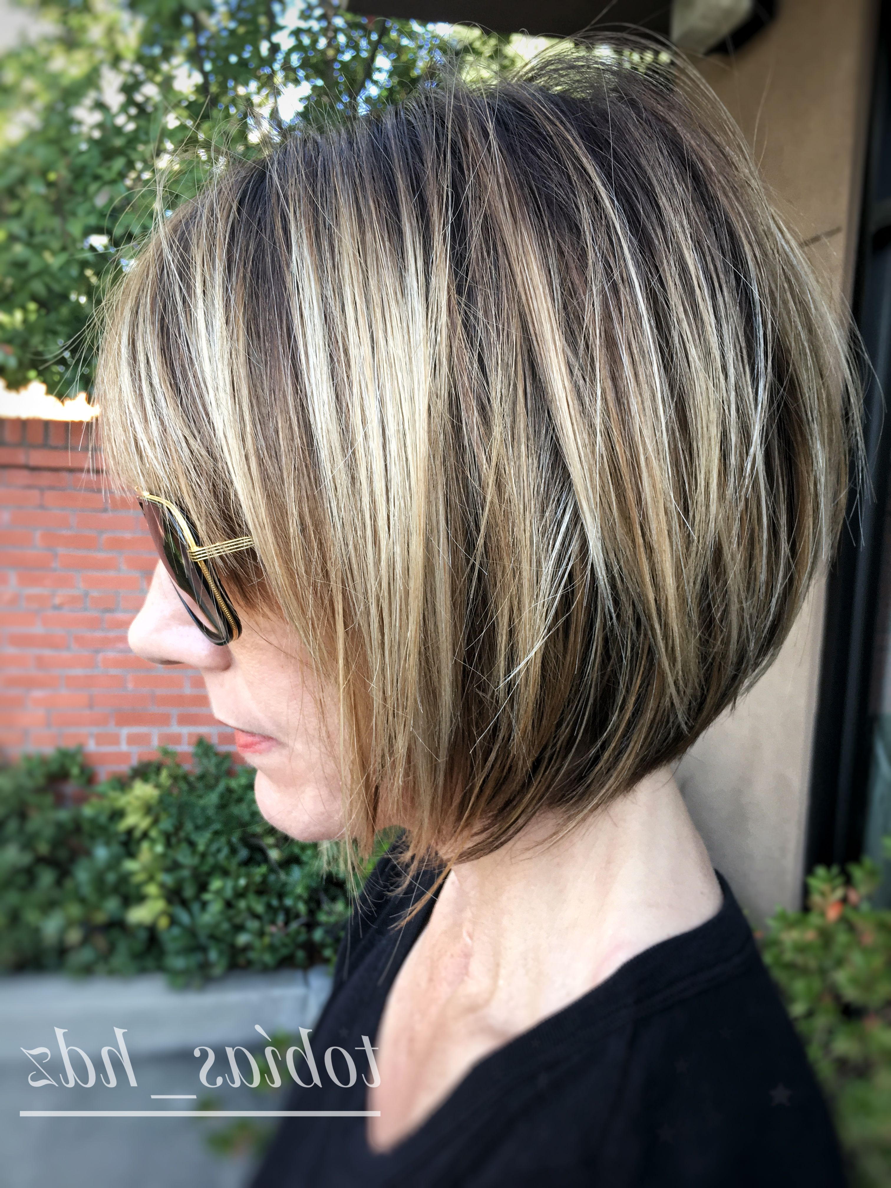 Short , Layered Bob, Balayage, Dimension, Cool Blonde | Haircuts For Silver Balayage Bob Haircuts With Swoopy Layers (View 18 of 20)