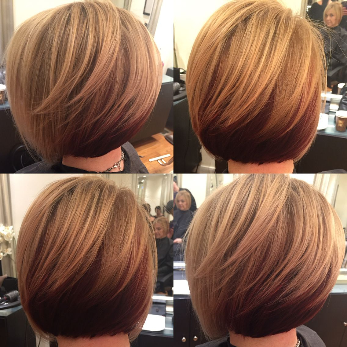 Short Slightly Stacked Bob W/ Highlights On Dark Blonde Base W Throughout Stacked Bob Hairstyles With Highlights (View 11 of 20)