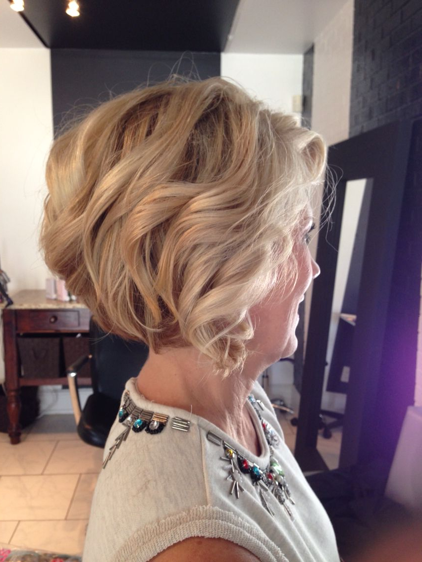 Short Stacked Bob, Dimensional Blonde, Highlights, Lowlights, Mature Inside Short Bob Hairstyles With Whipped Curls And Babylights (View 20 of 20)