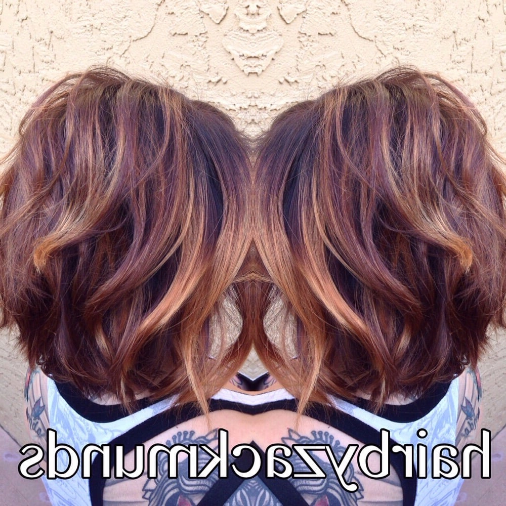 Short Stacked Bob With A Beachy Warm 2 Tone Balayage – Yelp Within Short Stacked Bob Hairstyles With Subtle Balayage (Gallery 17 of 20)