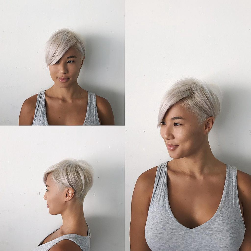 Short Textured Undercut With Long Side Swept Bangs And Platinum Color Throughout Sweeping Pixie Hairstyles With Undercut (View 12 of 20)