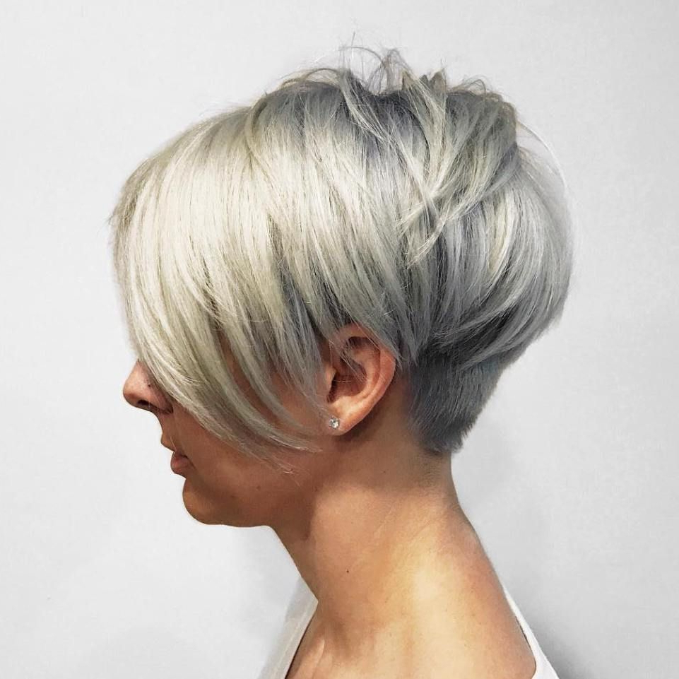 Silver Pixie With Bangs And Nape Undercut | Short Hairstyles In Layered Pixie Hairstyles With Nape Undercut (View 1 of 20)