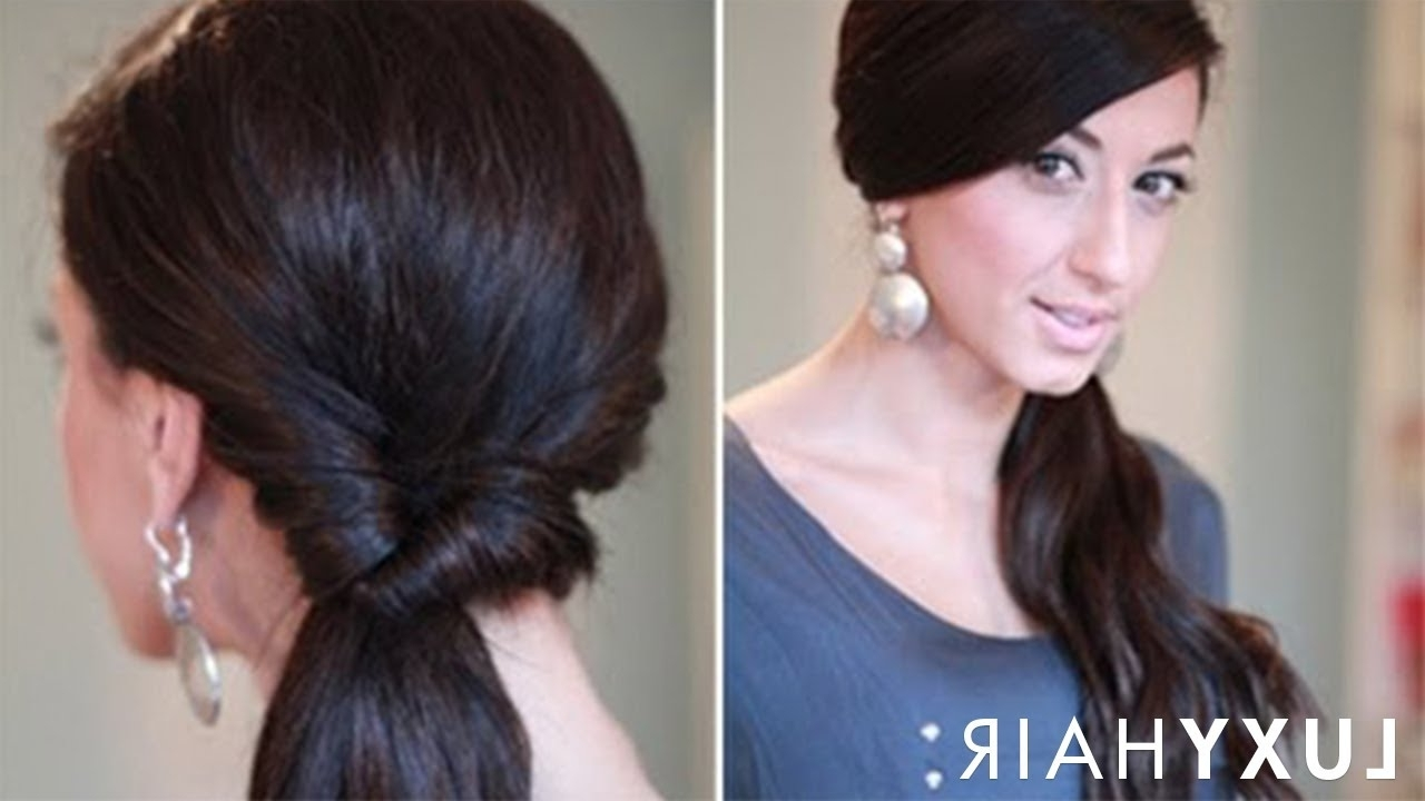 Simple Looped Side Ponytail – Youtube In 2017 Fancy Updo With A Side Ponytails (View 8 of 20)