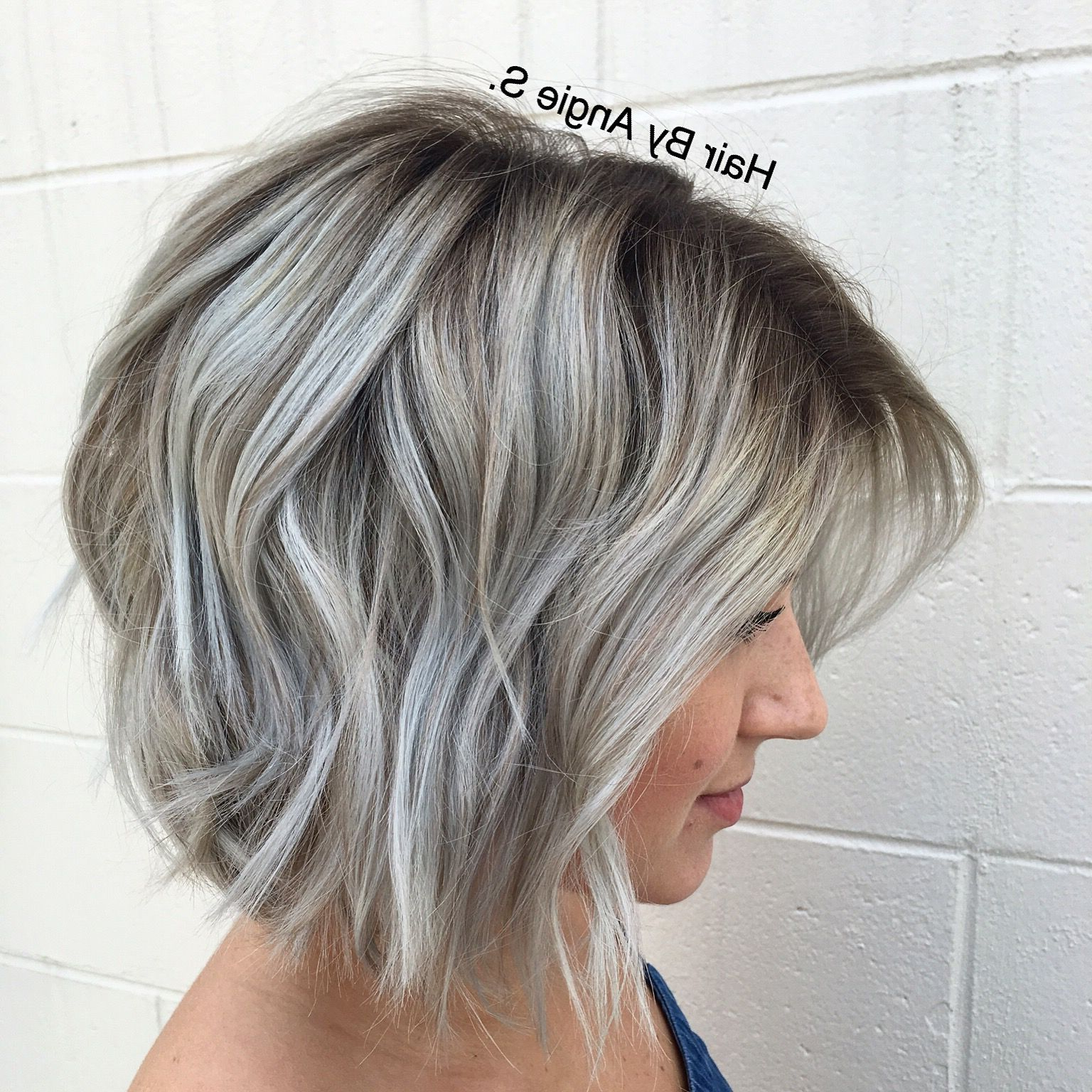 Featured Photo of Silver Balayage Bob Haircuts With Swoopy Layers