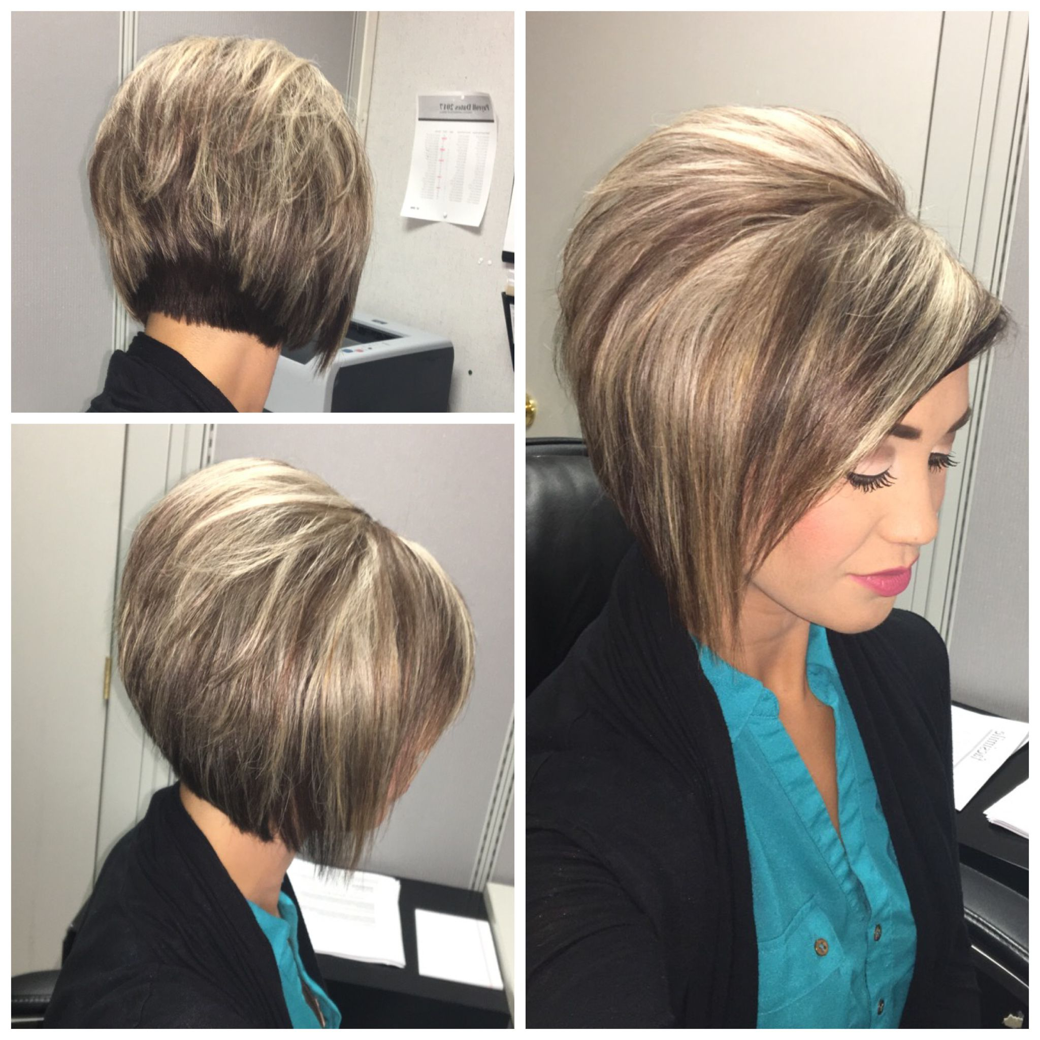 Stacked Bob Haircut With Blonde Highlights On Dark Hair | Hair In Intended For Dark Blonde Rounded Jaw Length Bob Haircuts (View 18 of 20)