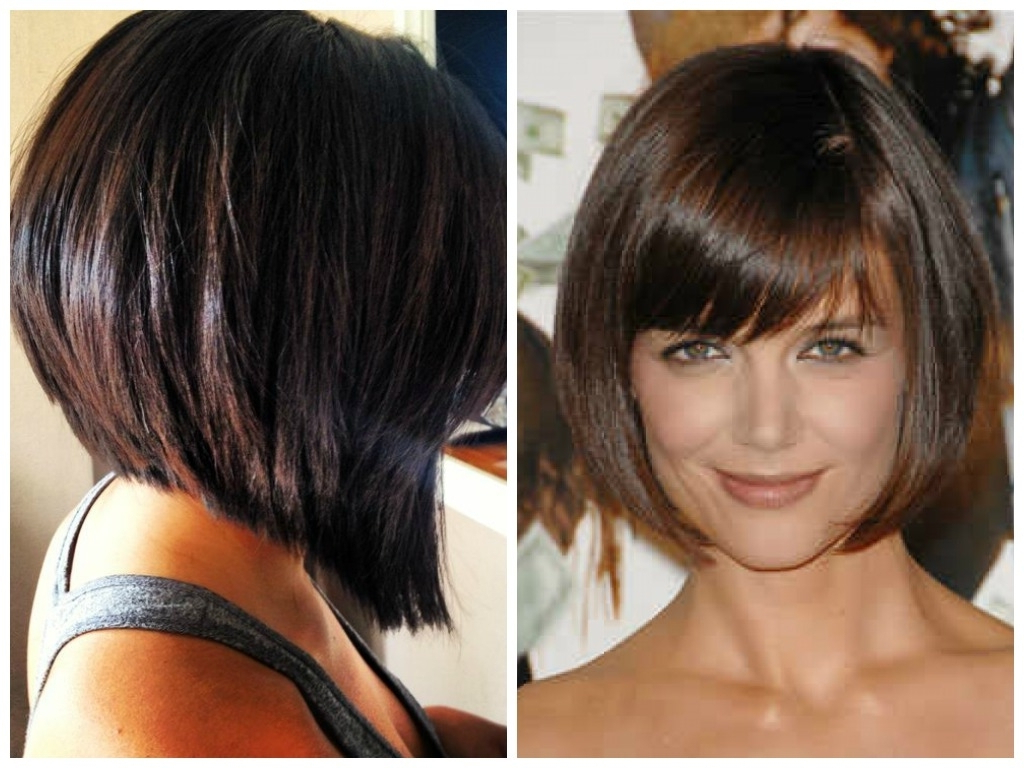 Stacked Bob Haircuts With Bangs – Leymatson Within Short Tapered Bob Hairstyles With Long Bangs (View 16 of 20)