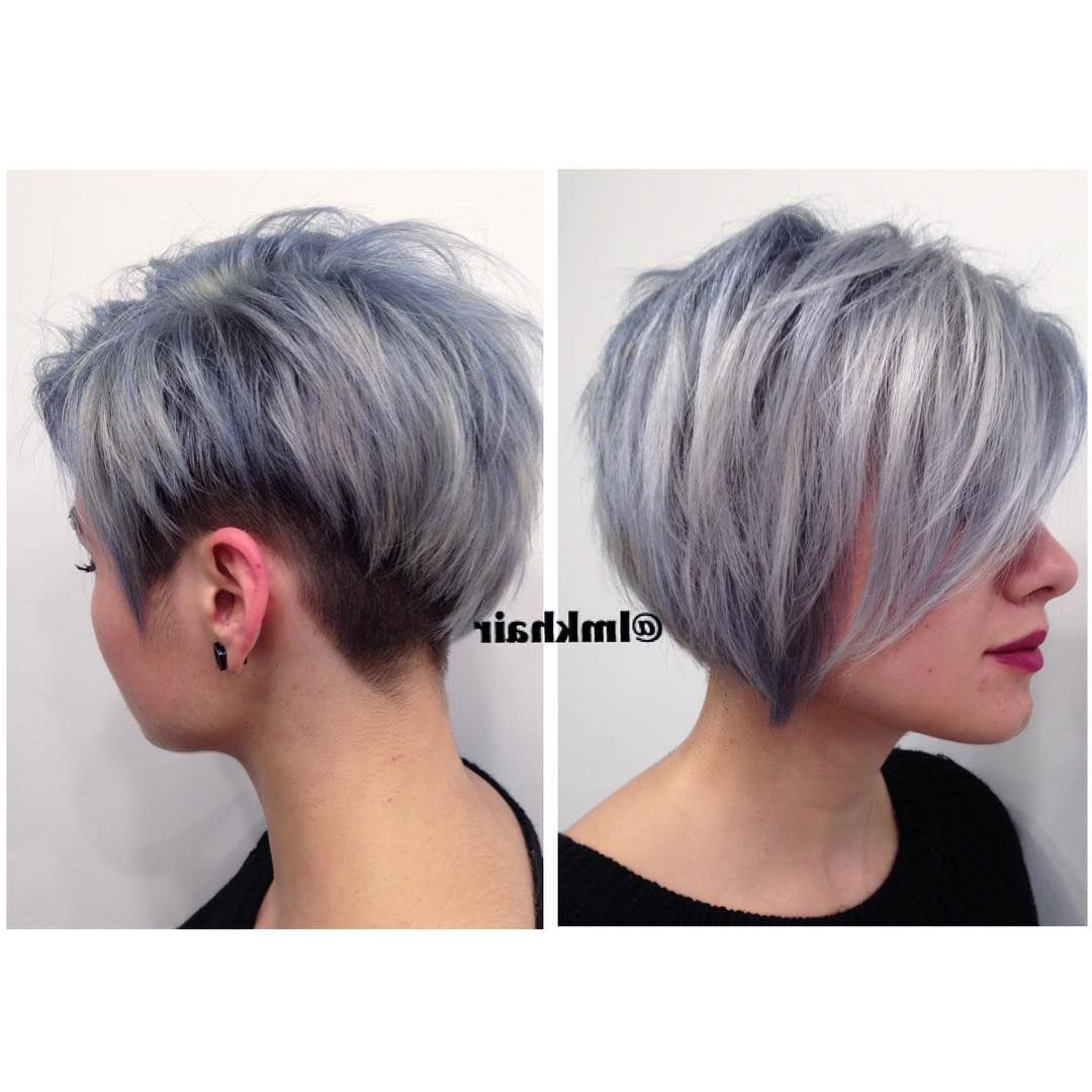 Steely Silver And Blue Textured Undercut (View 15 of 20)