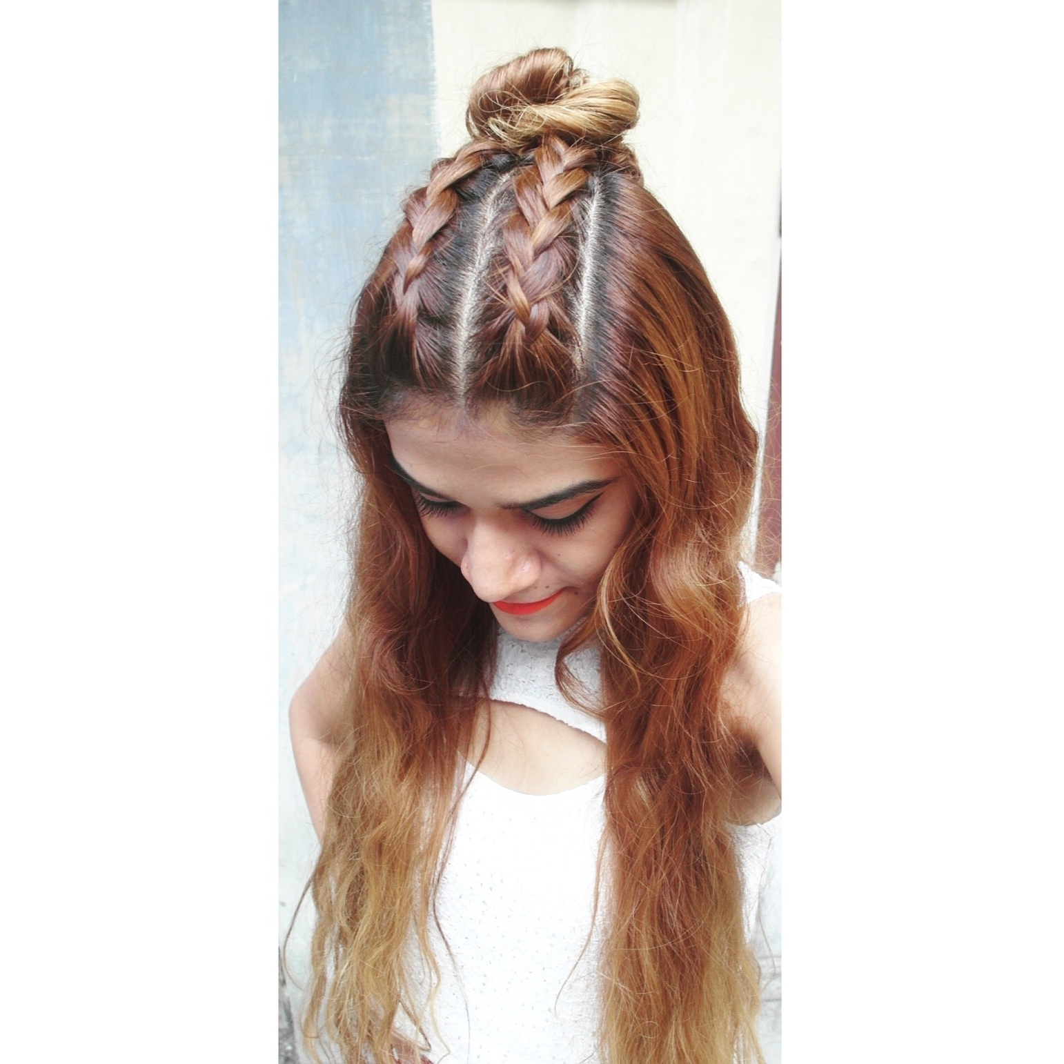 Tanvi Vayla » Double Dutch Braid With Top Knot Half Up Regarding 2018 Pony And Dutch Braid Combo Hairstyles (View 17 of 20)