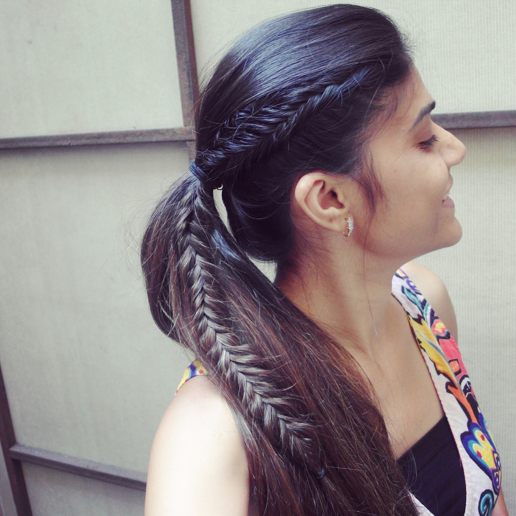 Tanvi Vayla » Fishtail Braid Into High Ponytail Pertaining To 2018 Fishtail Braid Ponytails (View 17 of 20)