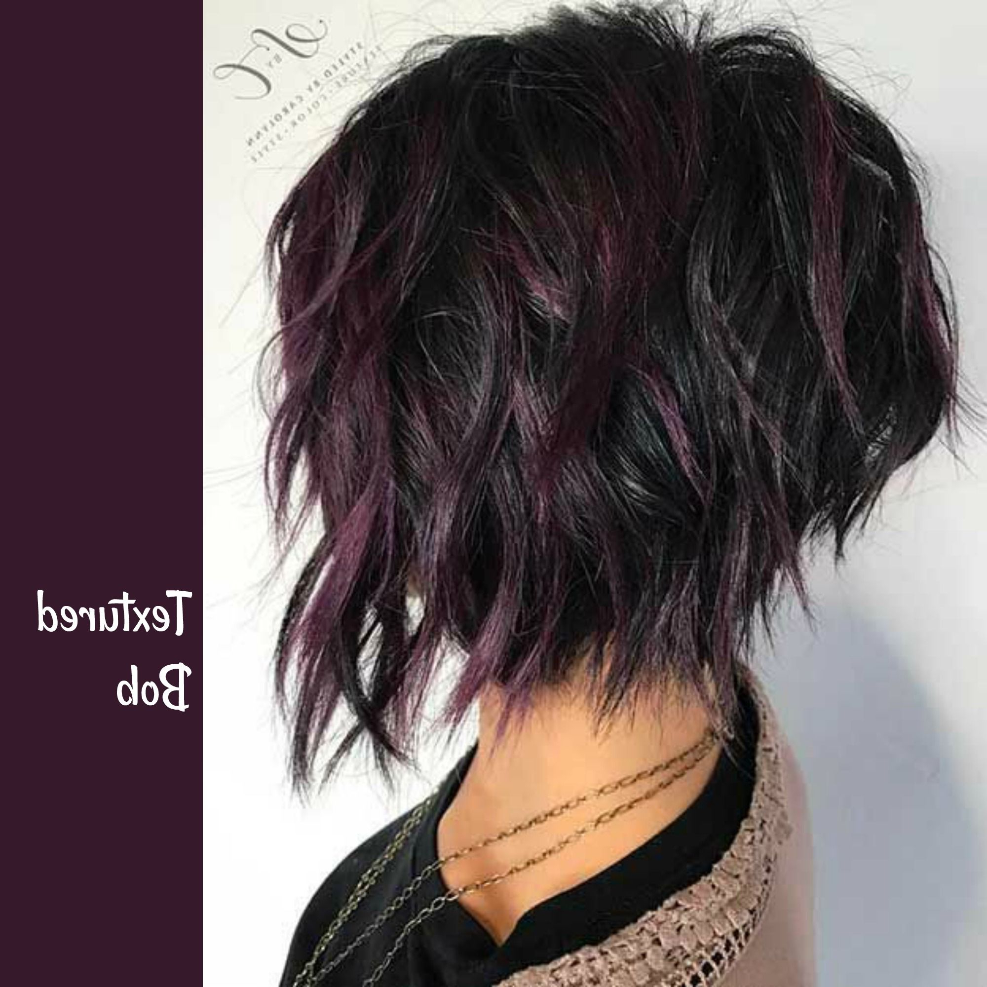 Textured Bob With Purple Highlights On Dark Hair | Hair Style With Regard To Black Inverted Bob Hairstyles With Choppy Layers (View 17 of 20)