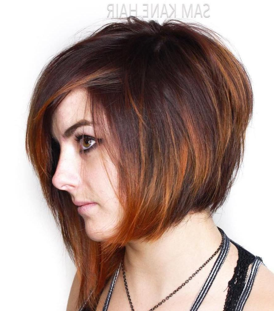 The Full Stack: 50 Hottest Stacked Haircuts | Brown Balayage Pertaining To Stacked Copper Balayage Bob Hairstyles (View 16 of 20)