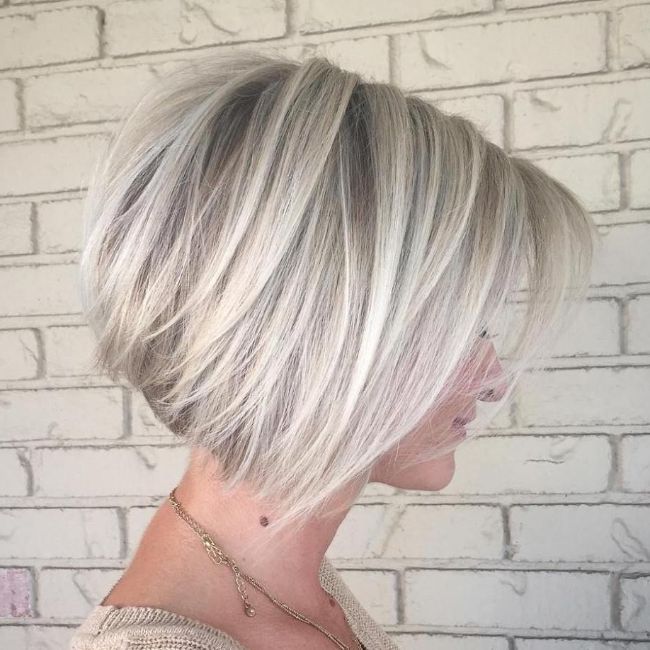 The Full Stack: 50 Hottest Stacked Haircuts In 2018 | Hair Pertaining To Short Ash Blonde Bob Hairstyles With Feathered Bangs (View 3 of 20)