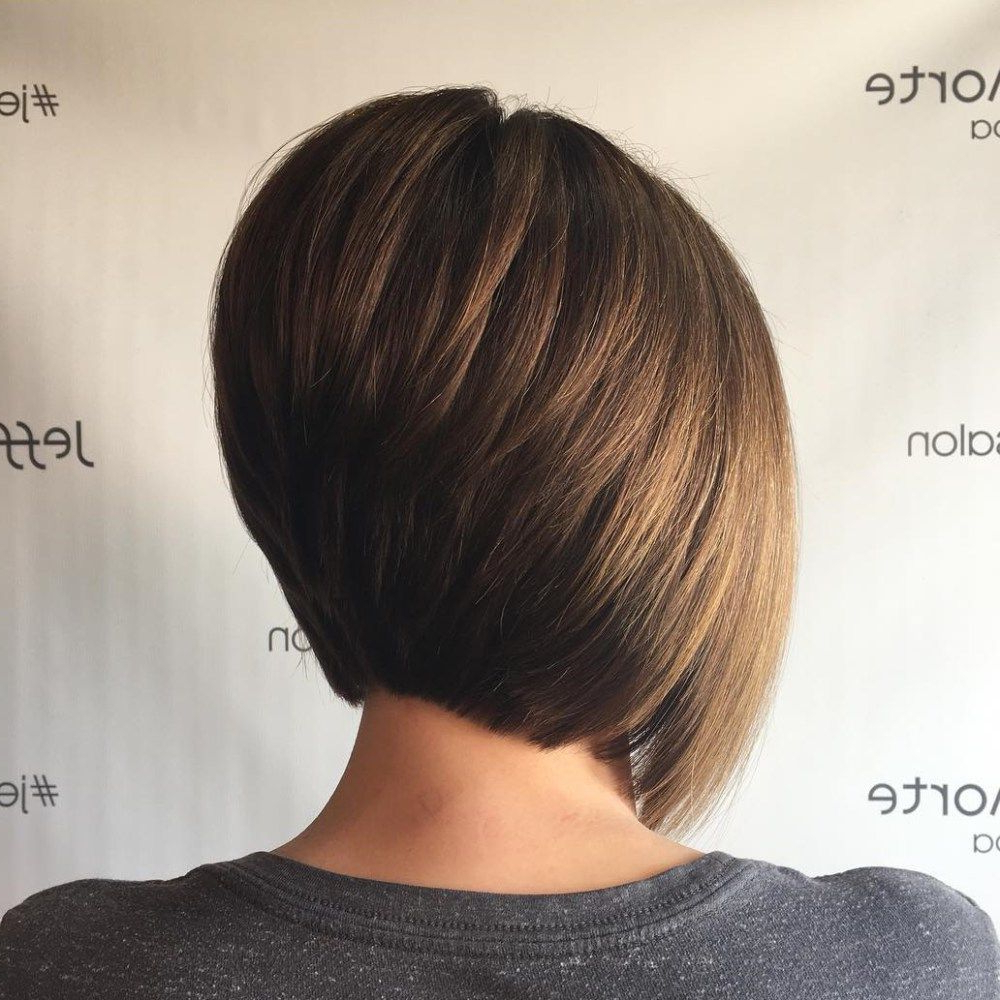 The Full Stack: 50 Hottest Stacked Haircuts In 2018 | Haircuts In Voluminous Nape Length Inverted Bob Hairstyles (View 20 of 20)