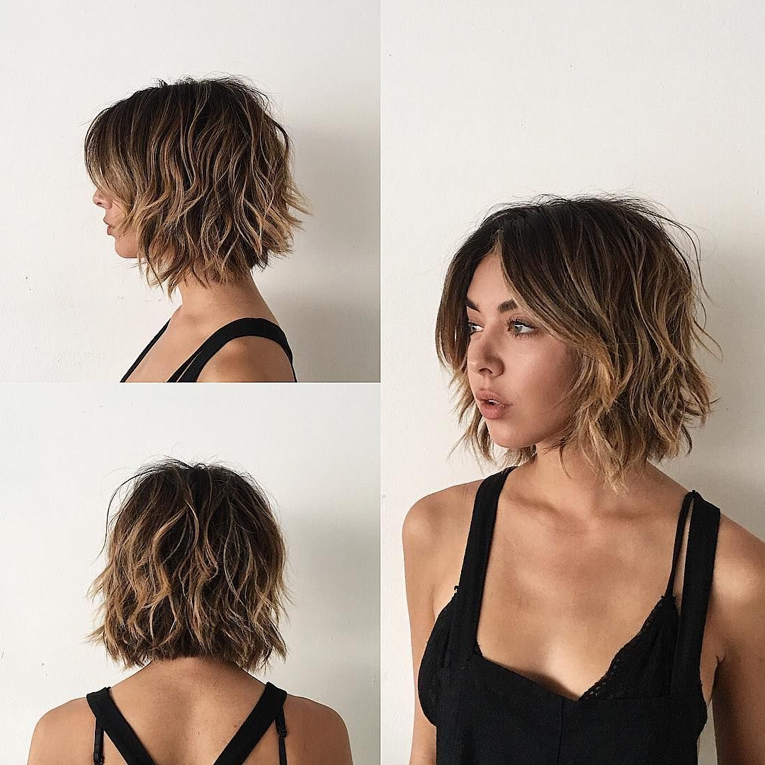 This Sexy Layered Bob With Curtain Bangs And Undone Wavy Texture Regarding Sexy Pixie Hairstyles With Rocker Texture (View 18 of 20)
