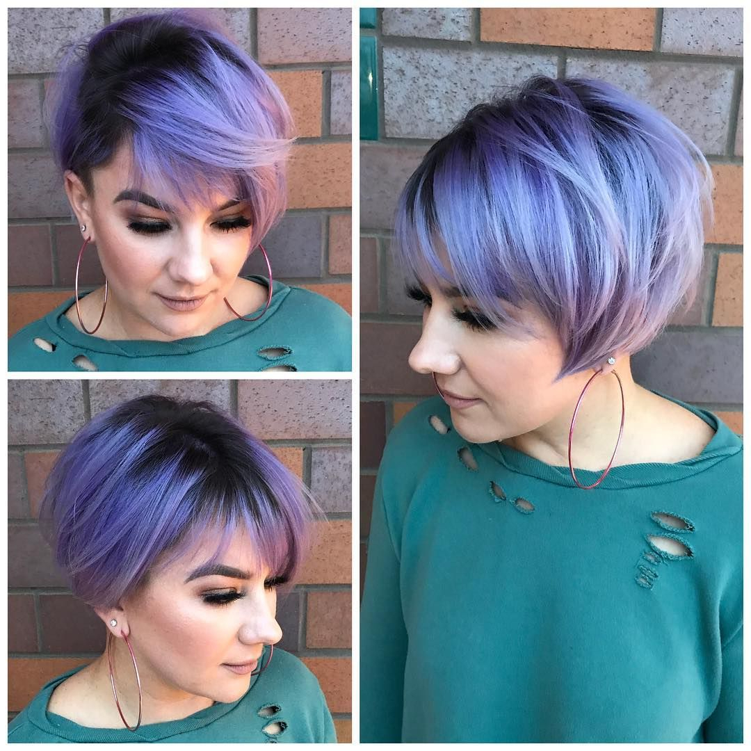 This Undercut Pixie Bob With Side Swept Bangs And Metallic Purple With Regard To Sweeping Pixie Hairstyles With Undercut (View 15 of 20)
