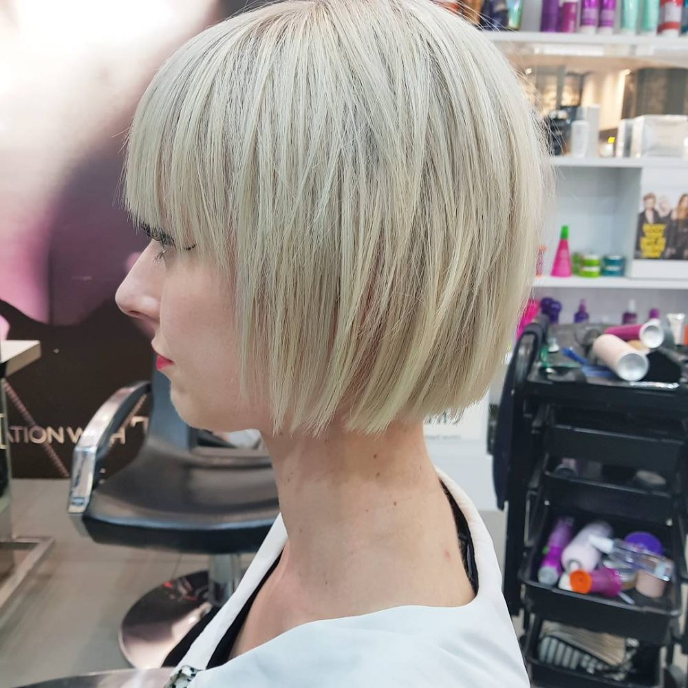 Top 36 Short Blonde Hair Ideas For A Chic Look In 2018 In White Bob Undercut Hairstyles With Root Fade (View 17 of 20)