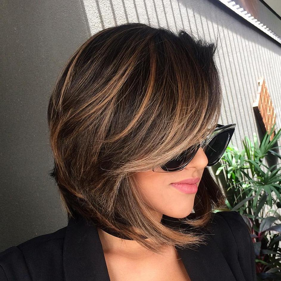 Top Haircuts Design For Girls In Stacked Black Bobhairstyles With Cherry Balayage (View 20 of 20)