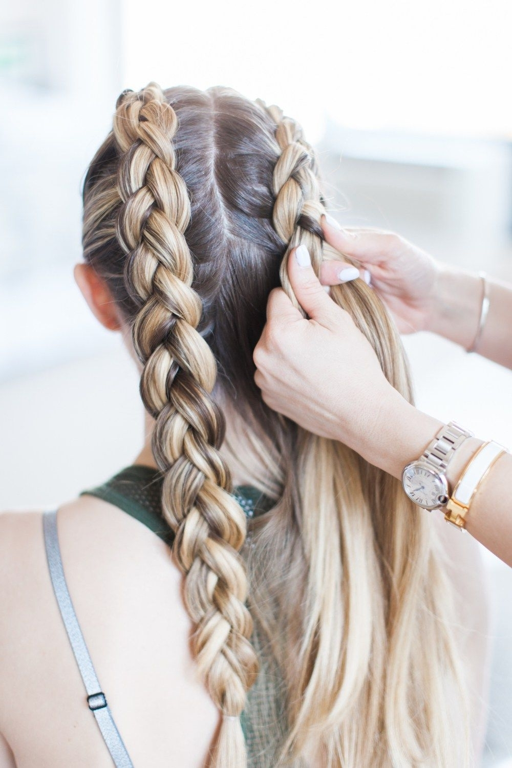 Trendy Blonde Ponytails With Double Braid With Regard To Master These Double Dutch Braids In 3 Steps & Less Than 5 Minutes (View 14 of 20)