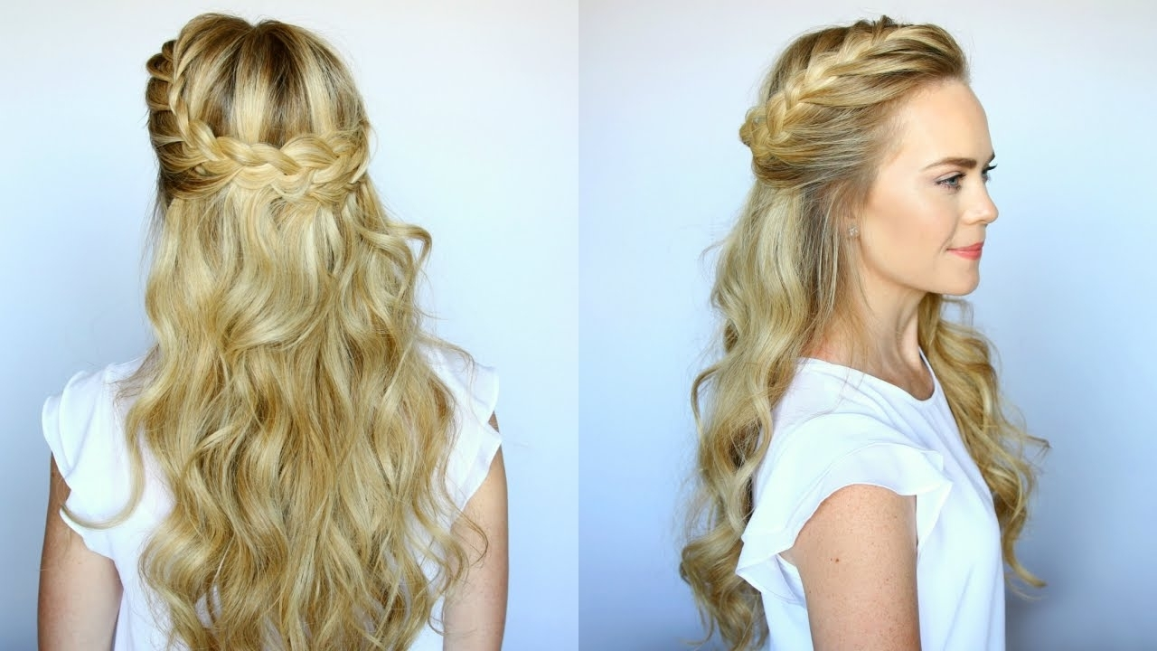 Trendy Wavy Side Ponytails With A Crown Braid With Regard To Half Up French Braid Crown (View 16 of 20)