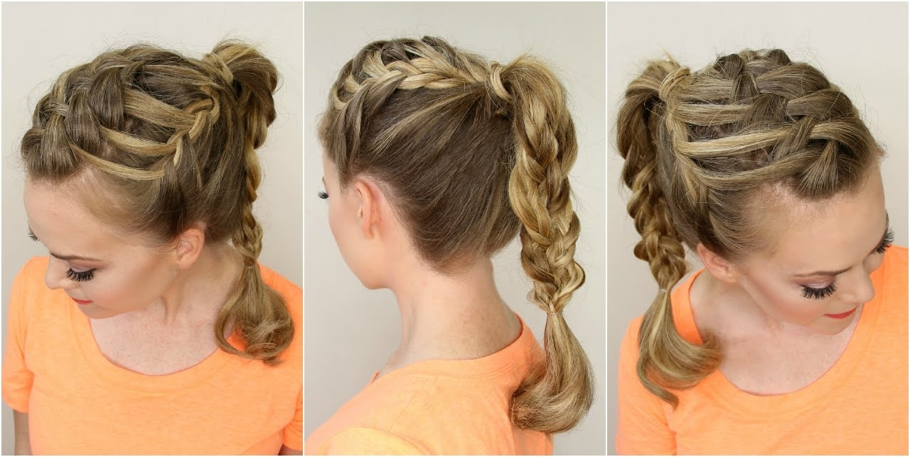 Triple French Braid Double Waterfall Braided Ponytail – Youtube In Well Known Triple Braid Ponytail Hairstyles (View 19 of 20)