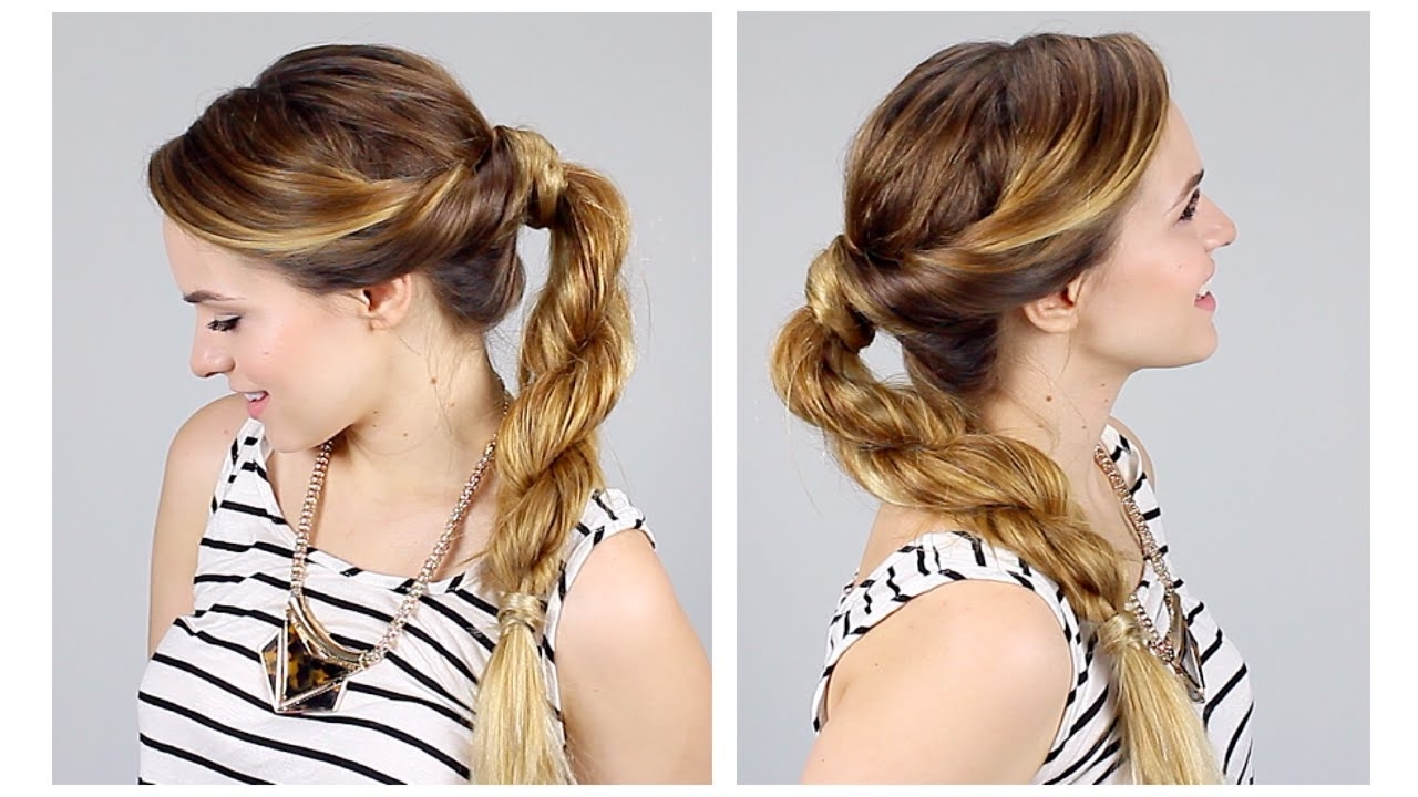 Twisted Rope Braid Ponytail For Back To School – Youtube With Newest Twisted Retro Ponytail Updo Hairstyles (View 7 of 20)