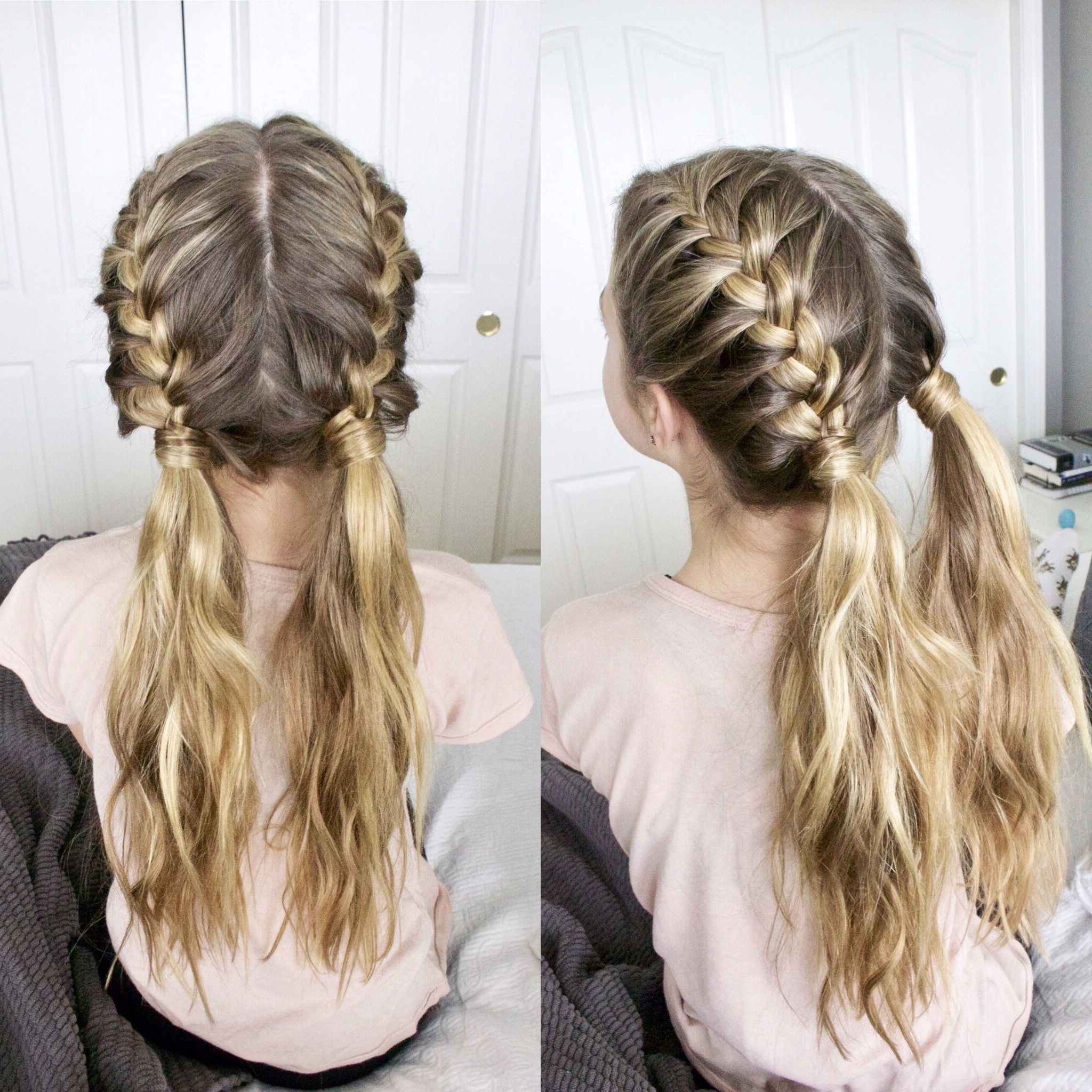 Two French Braids Into Messy Pigtails (View 20 of 20)