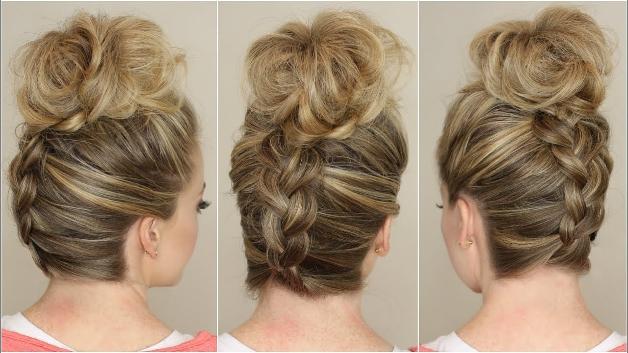 Upside Down Braid To Bun – Youtube Intended For Best And Newest Reverse Braid And Side Ponytail Hairstyles (View 18 of 20)