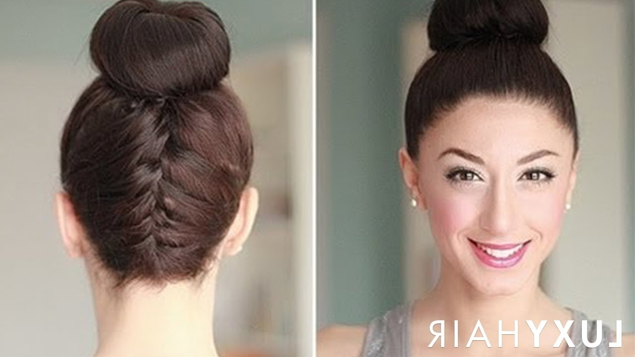 Upside Down French Braid Bun Style – Youtube Inside Most Popular Reverse Braid And Side Ponytail Hairstyles (Gallery 1 of 20)