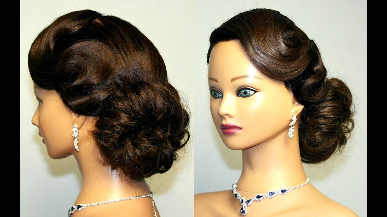 Vintage Updo, Hairstyle For Medium Long Hair. – Youtube Pertaining To Trendy Twisted Retro Ponytail Updo Hairstyles (Gallery 10 of 20)