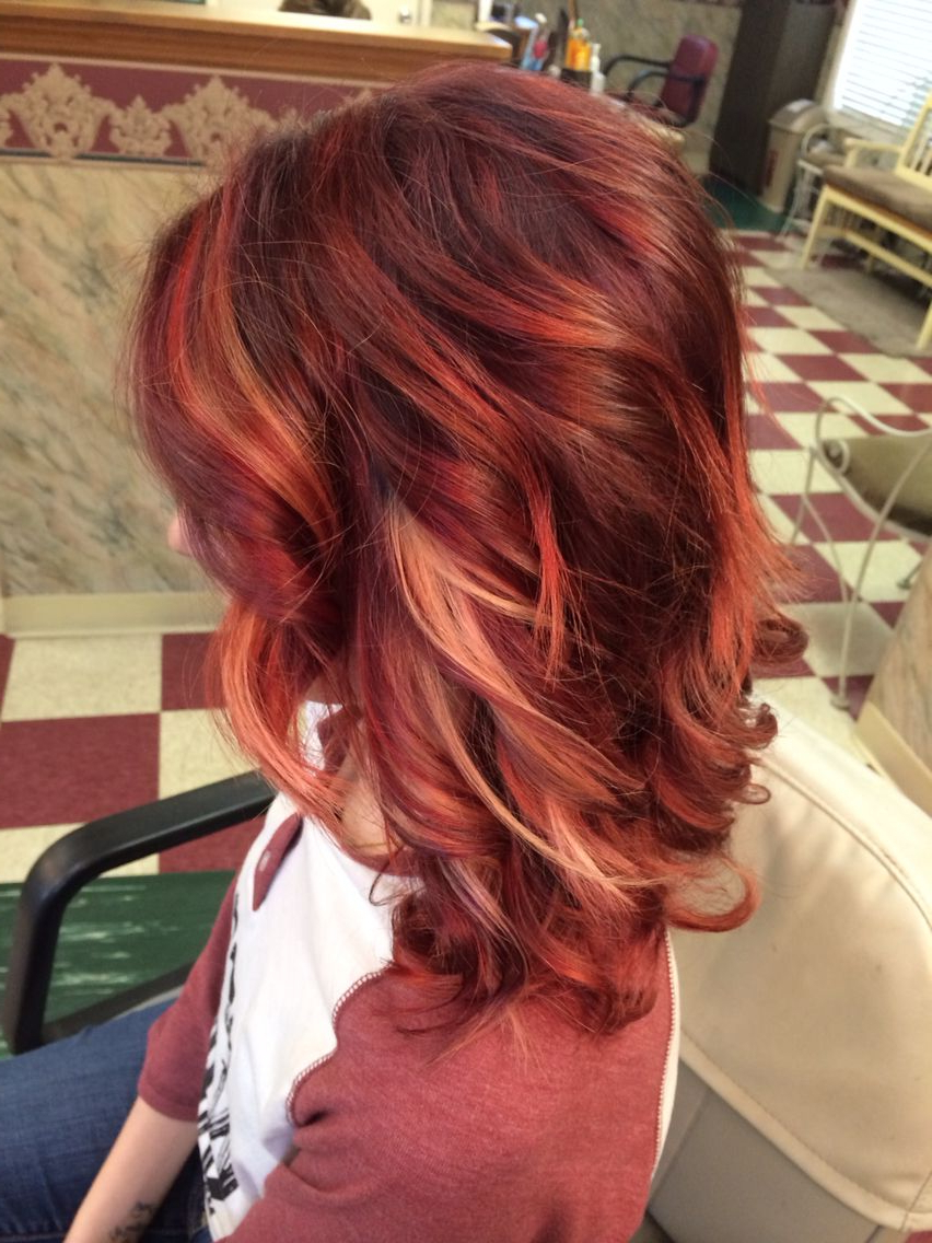 Violet/bright Red Ombré With Blonde Peek Boo Highlights (View 20 of 20)