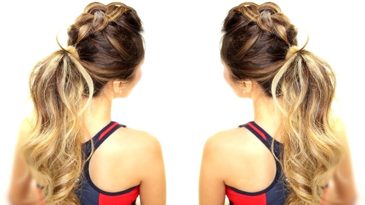Well Known Braid And Bun Ponytail Hairstyles With Regard To High Ponytail Hairstyles Tutorial For Long Hair: Flower + Braided (View 18 of 20)