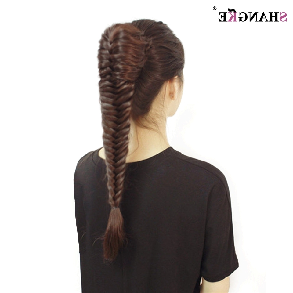 Well Known Fishtail Ponytails With Hair Extensions Intended For Shangke Long Straight Fishtail Braids Ponytail Clip In Plaited Rope (View 18 of 20)