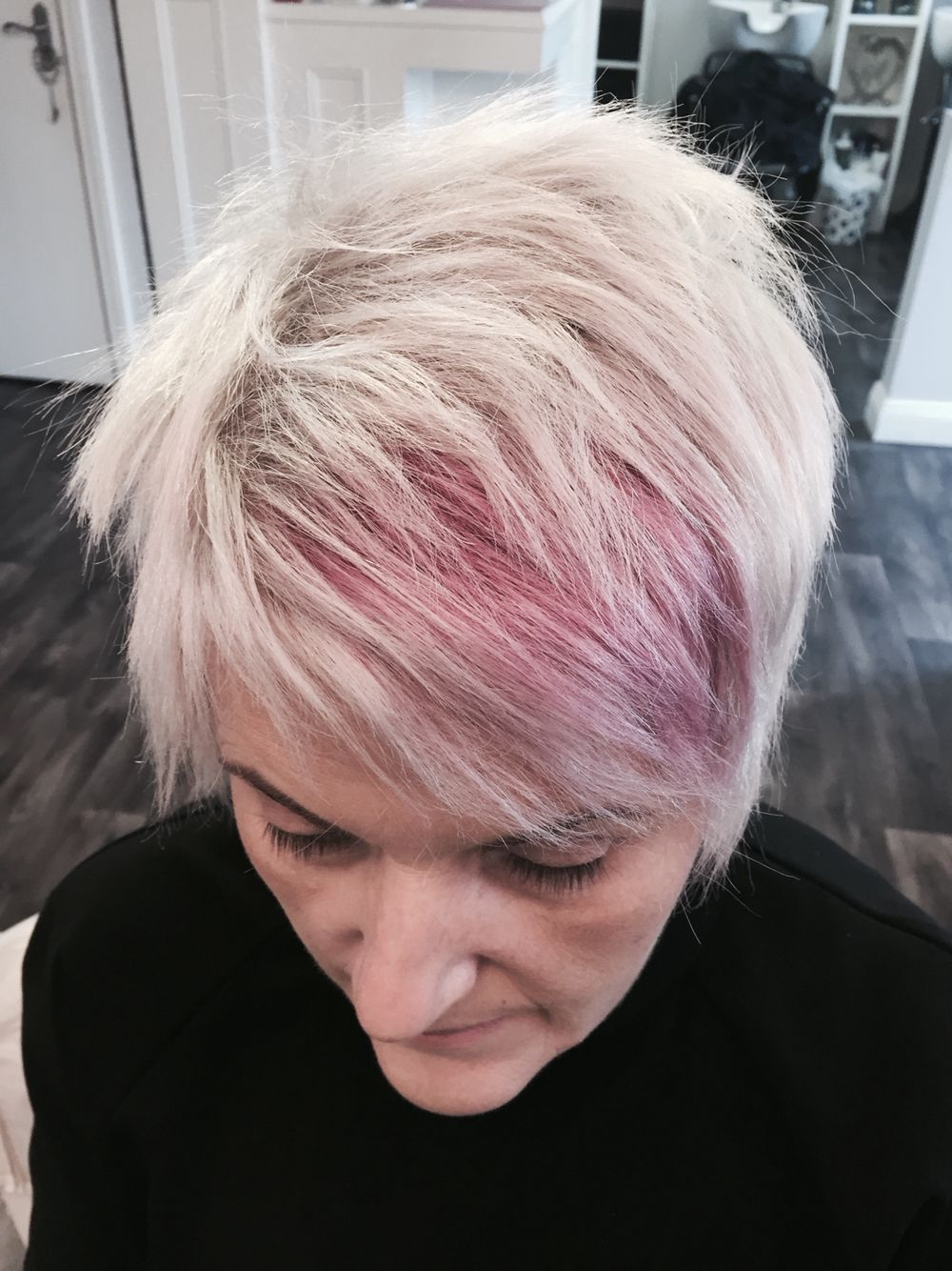 White Blonde And Pastel Pink Textured Pixie Cut | New Hair For Pastel Pink Textured Pixie Hairstyles (View 5 of 20)