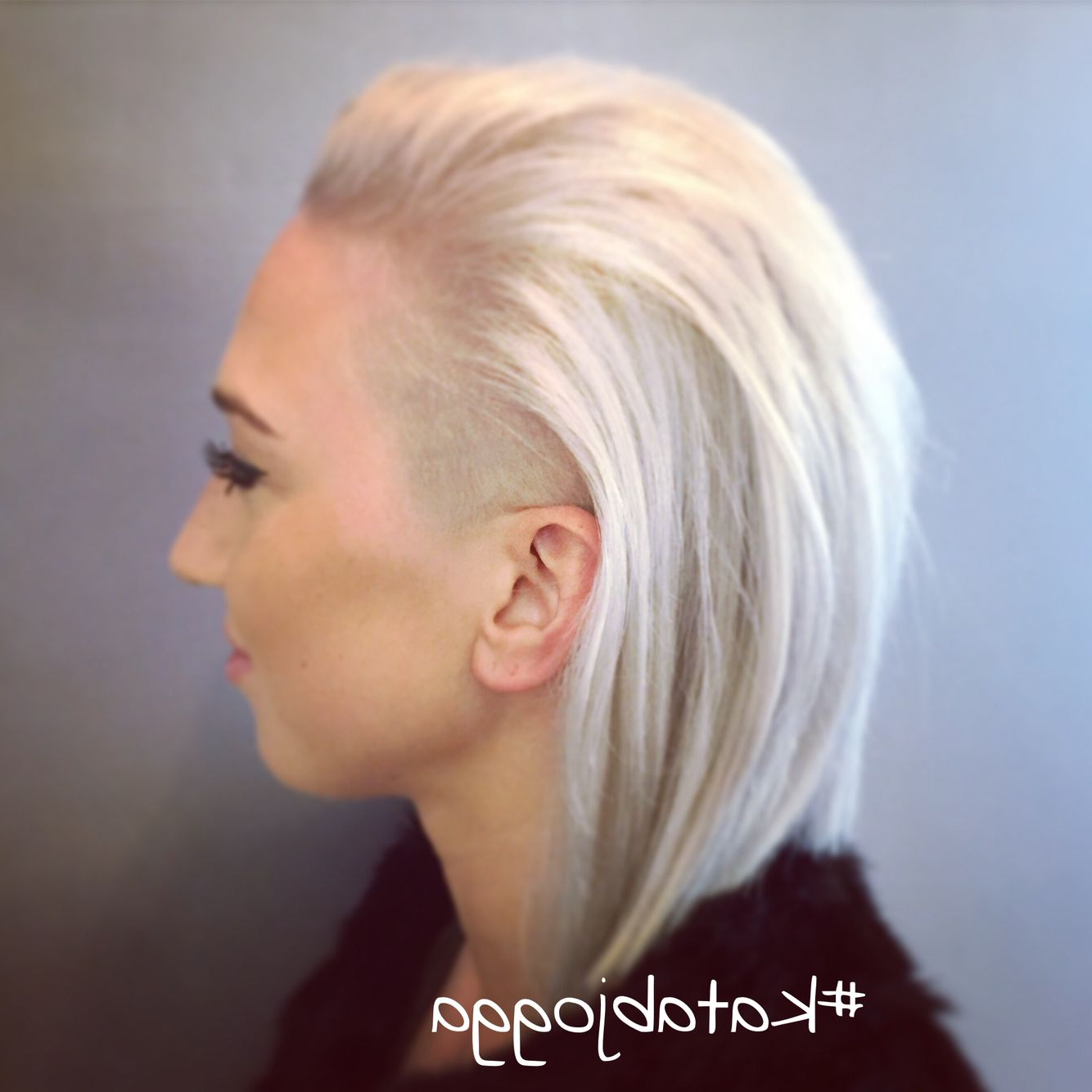 White Hair, Shaved Undercut, Long Bob Haircut | My Stuff #katabjogga Regarding White Bob Undercut Hairstyles With Root Fade (View 20 of 20)
