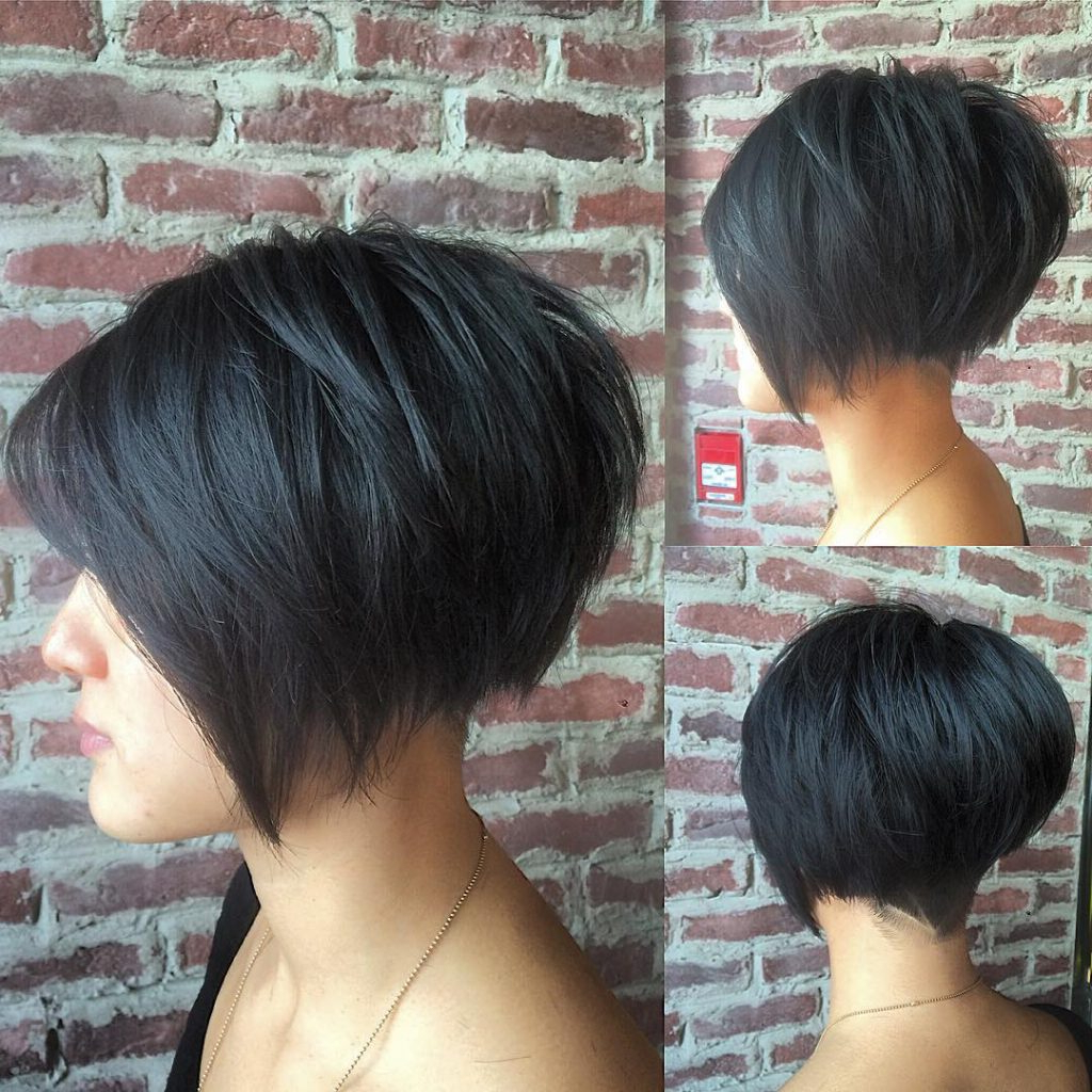 Women's Black Undercut Bob With Choppy Graduated Layers And Shaved Inside Blue Balayage For Black Choppy Bob Hairstyles (View 12 of 20)