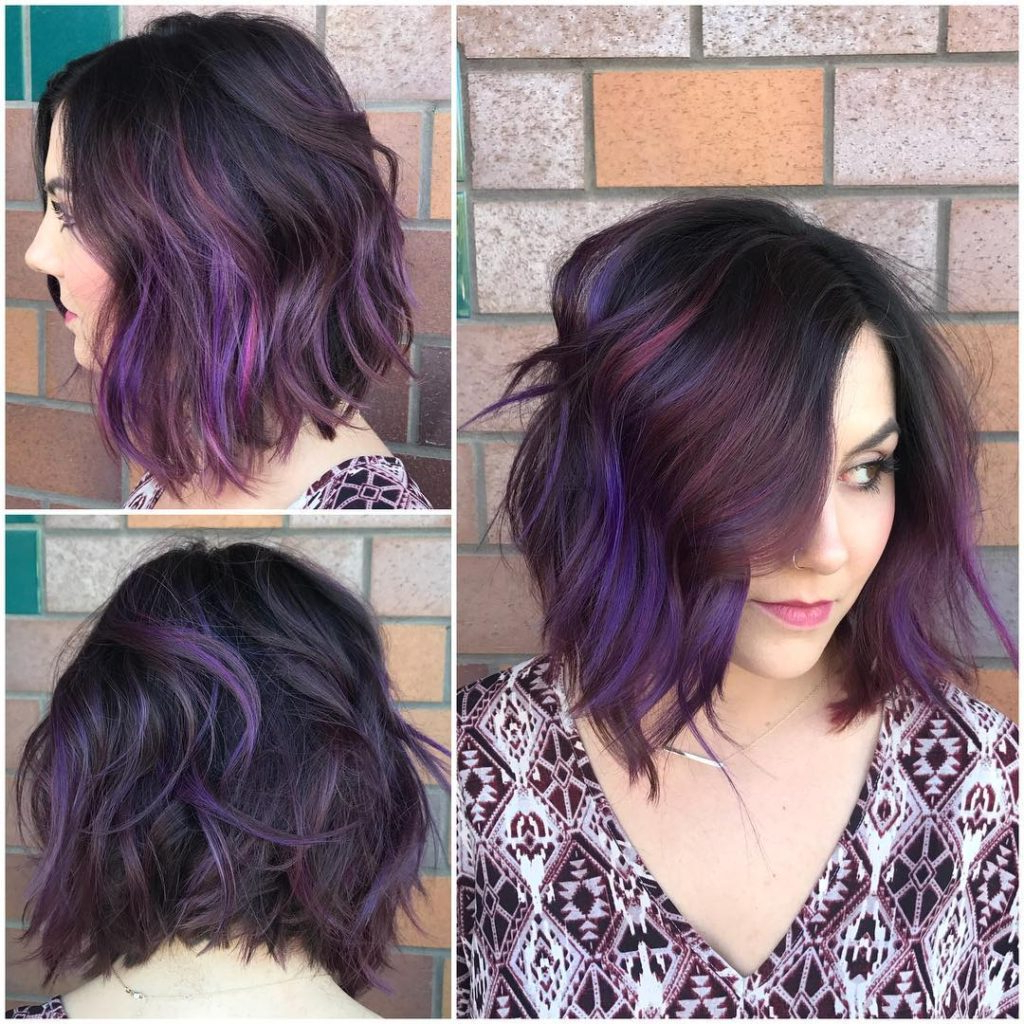 Women's Black Wavy Textured Bob With Purple And Burgundy Highlights Within Black Wet Curly Bob Hairstyles With Subtle Highlights (View 19 of 20)
