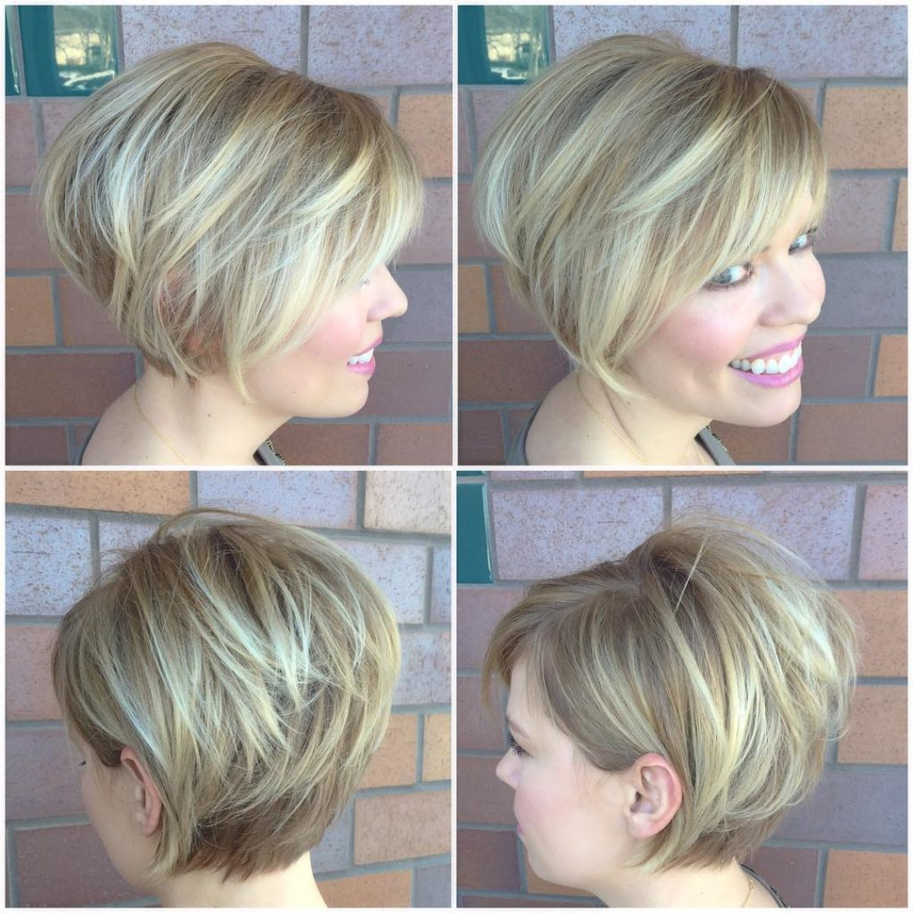 Women's Blonde Stacked Bob With Side Swept Bangs And Highlights For Stacked Bob Hairstyles With Highlights (View 17 of 20)