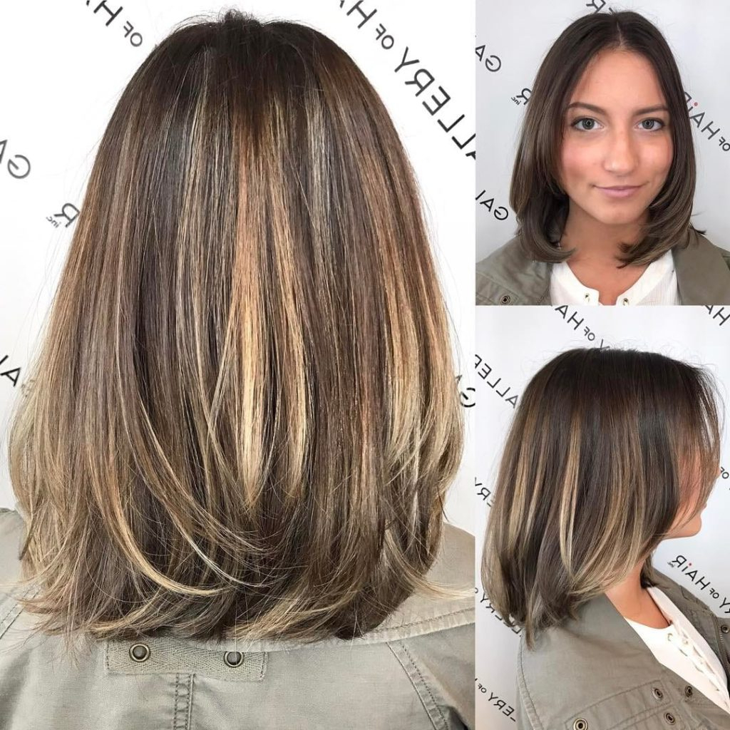 Women's Brunette Layered Blowout Bob With Face Framing Layers And Intended For Balayage Bob Haircuts With Layers (View 20 of 20)