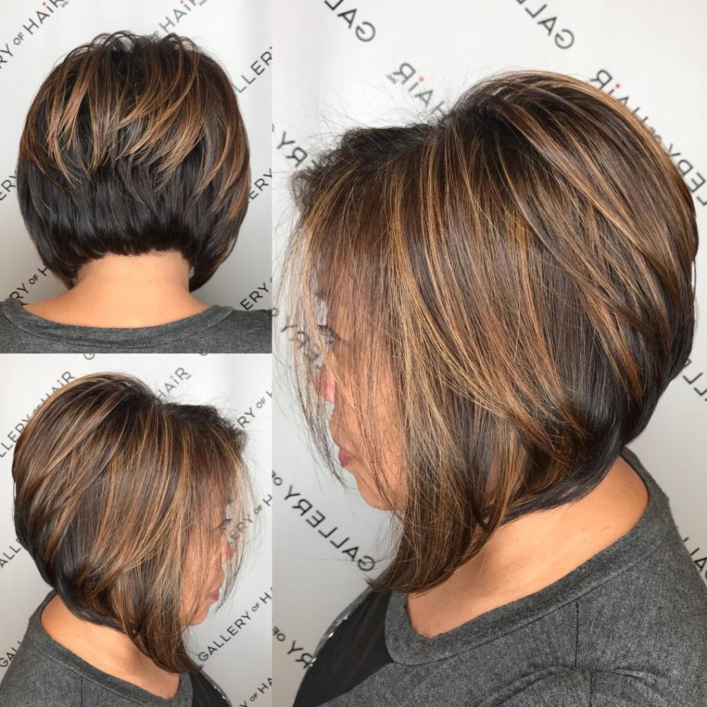 Women's Brunette Stacked Angled Bob With Caramel Highlights Short Intended For Short Stacked Bob Blowout Hairstyles (View 18 of 20)